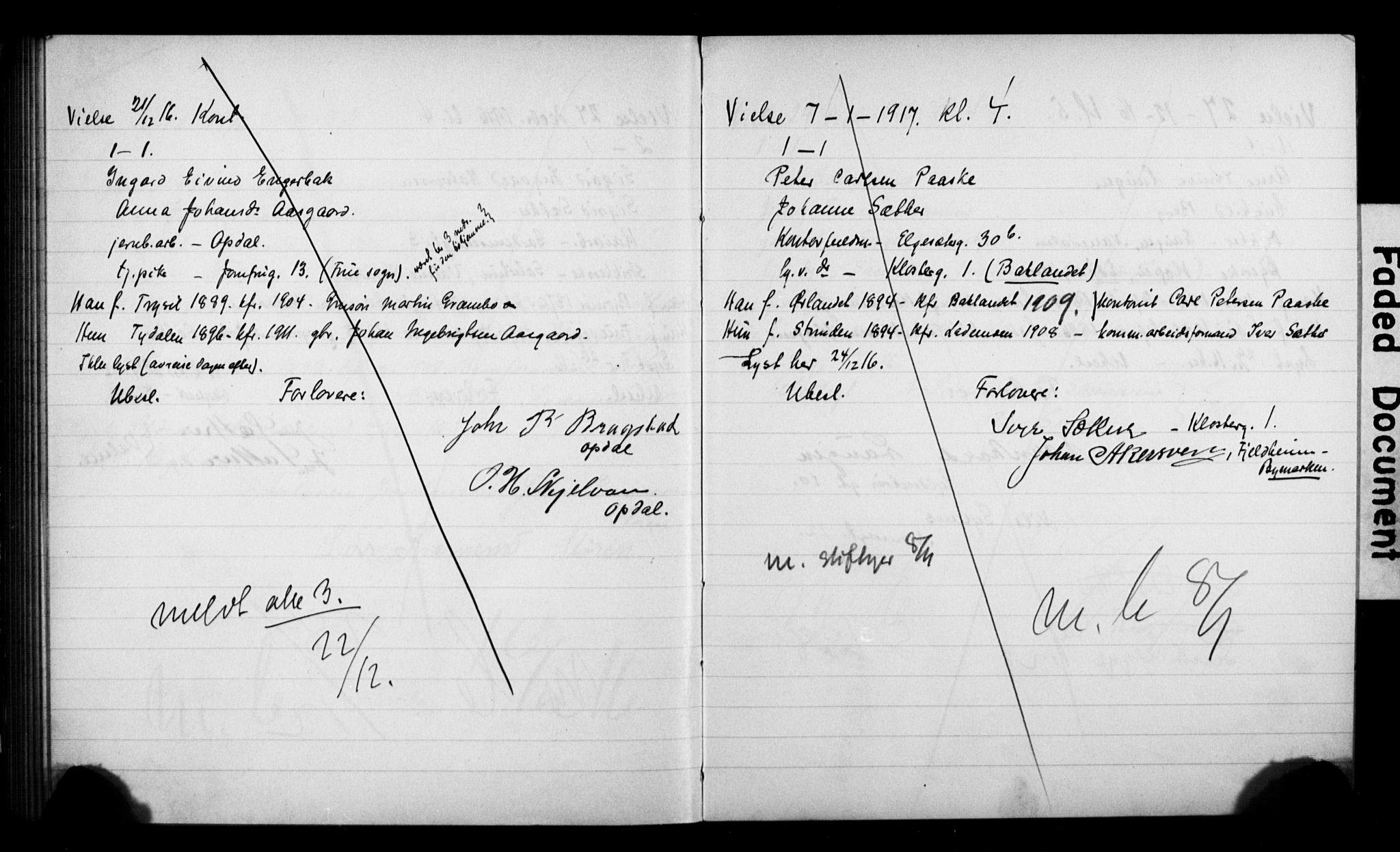 SAT, Ministerialprotokoller, klokkerbøker og fødselsregistre - Sør-Trøndelag, 601/L0076: Lysningsprotokoll nr. 601B09, 1915-1917