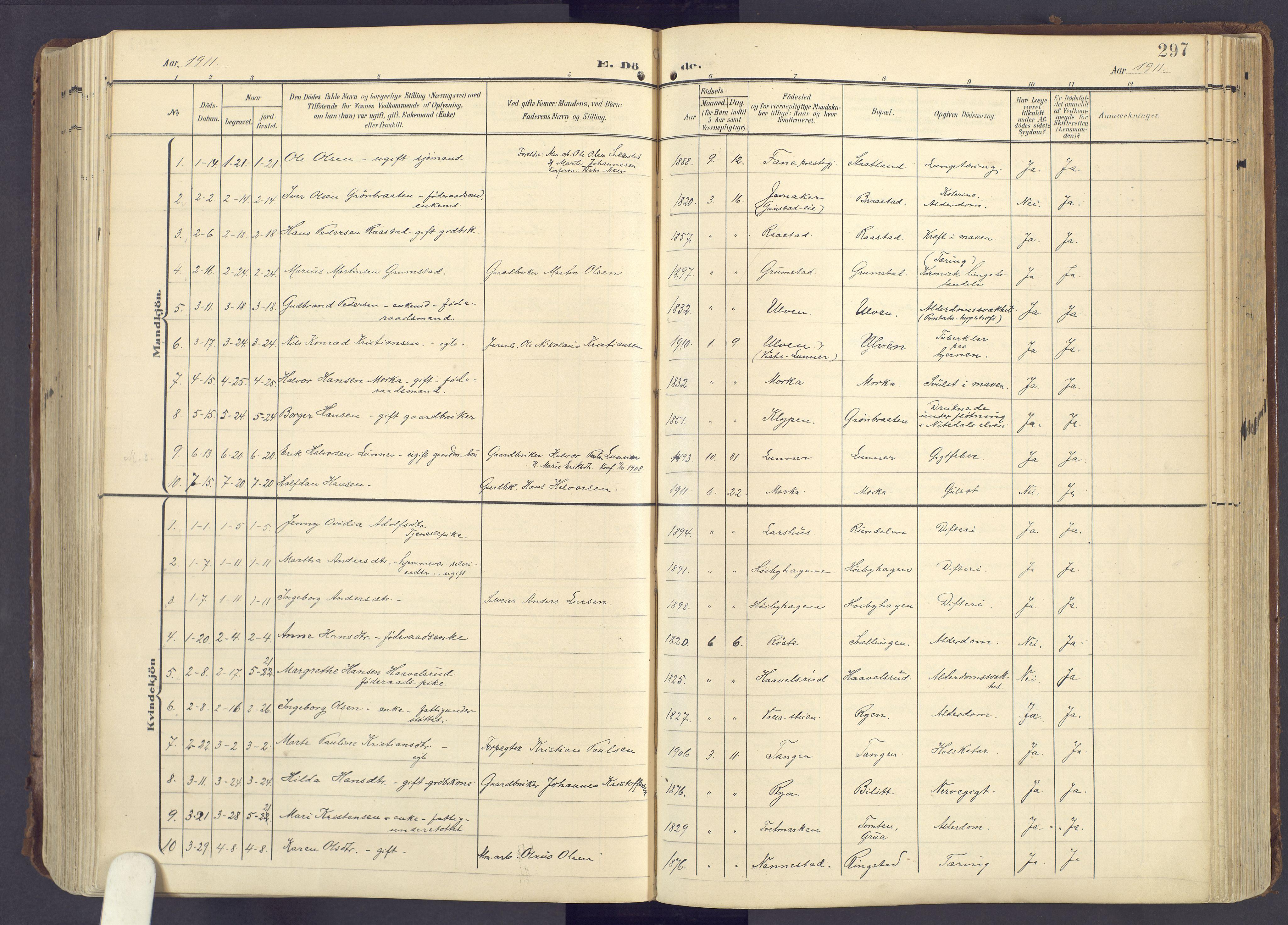 SAH, Lunner prestekontor, H/Ha/Haa/L0001: Ministerialbok nr. 1, 1907-1922, s. 297