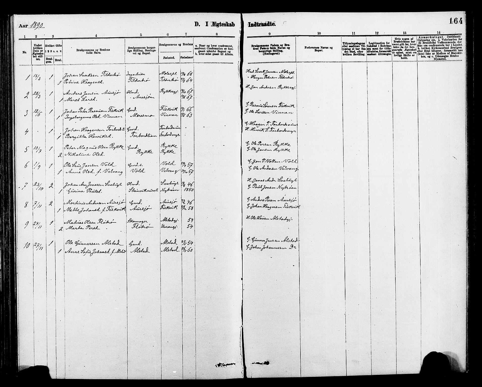 SAT, Ministerialprotokoller, klokkerbøker og fødselsregistre - Nord-Trøndelag, 712/L0103: Klokkerbok nr. 712C01, 1878-1917, s. 164