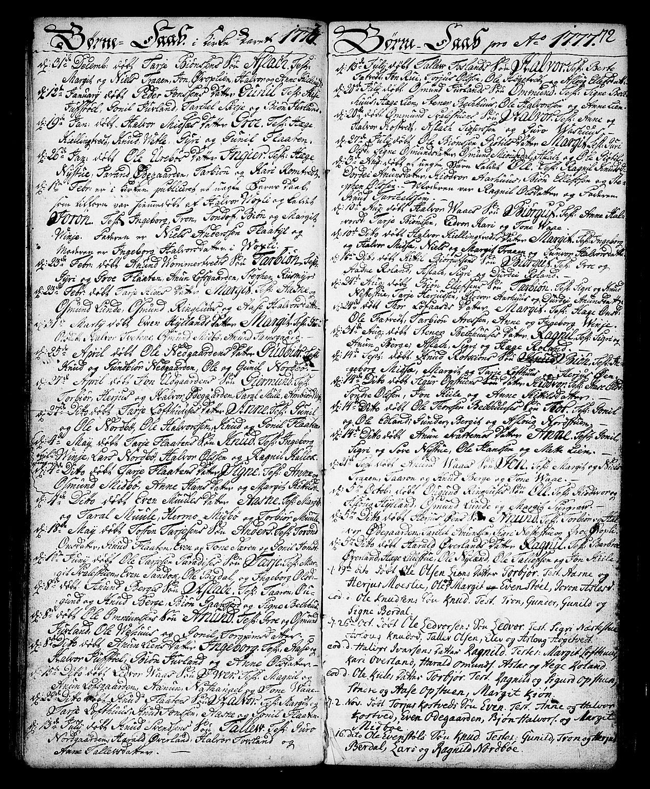 SAKO, Vinje kirkebøker, F/Fa/L0002: Ministerialbok nr. I 2, 1767-1814, s. 72