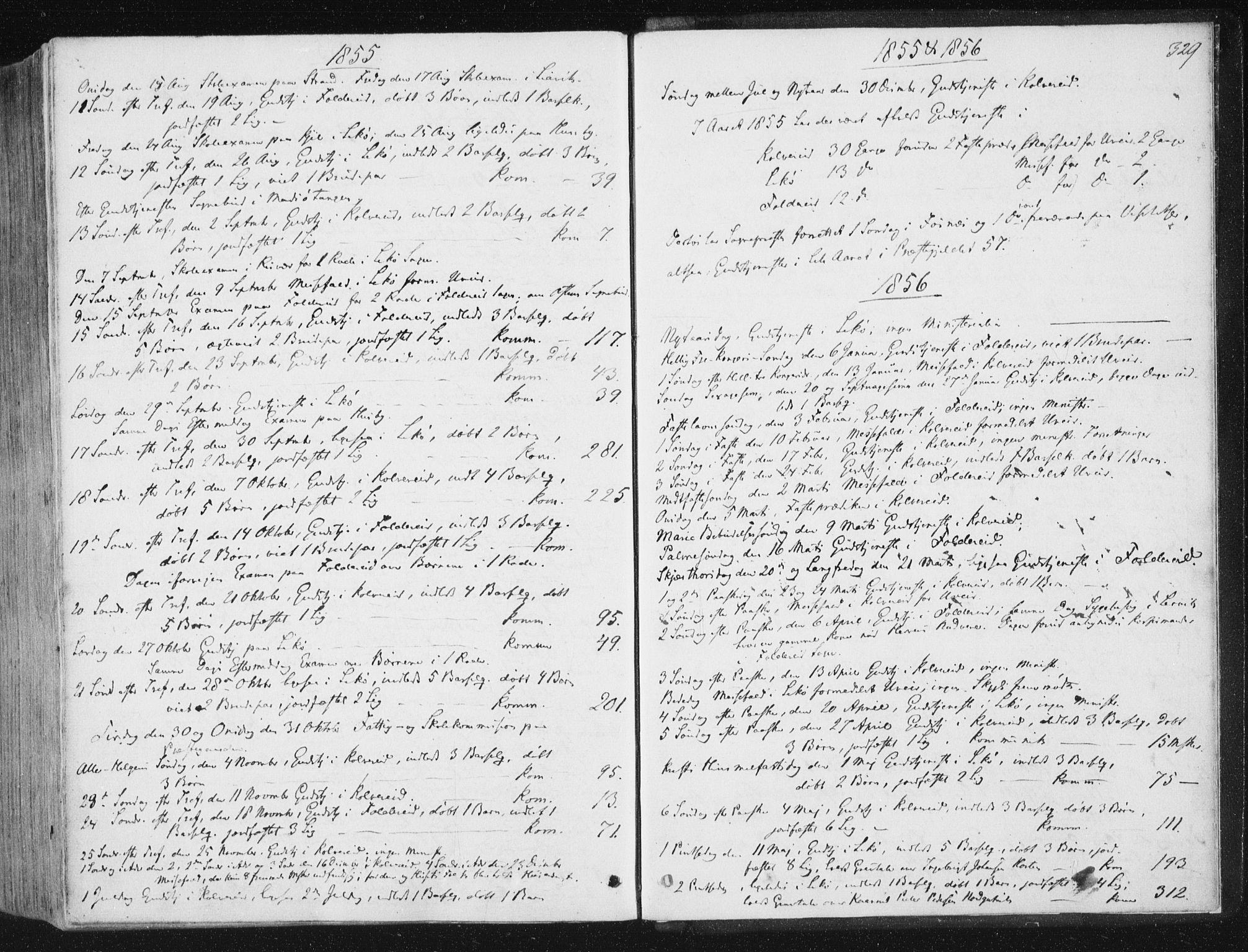 SAT, Ministerialprotokoller, klokkerbøker og fødselsregistre - Nord-Trøndelag, 780/L0640: Ministerialbok nr. 780A05, 1845-1856, s. 329