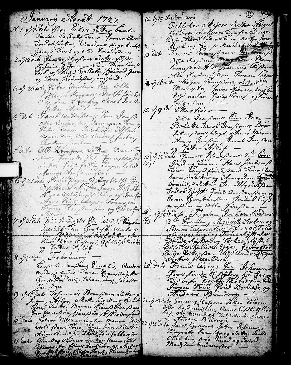 SAKO, Skien kirkebøker, F/Fa/L0002: Ministerialbok nr. 2, 1716-1757, s. 88