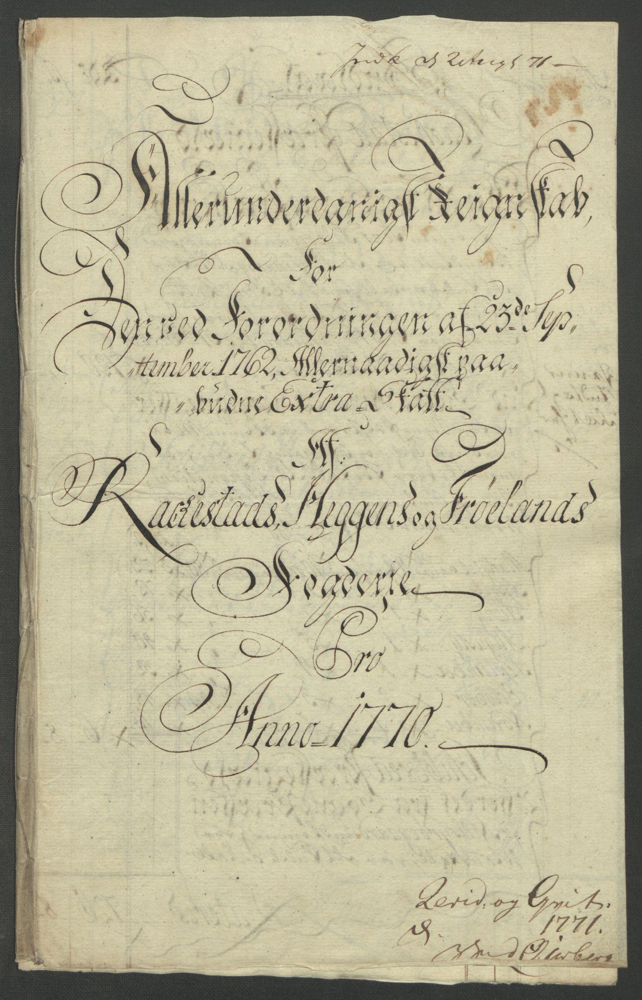 RA, Rentekammeret inntil 1814, Reviderte regnskaper, Fogderegnskap, R07/L0413: Ekstraskatten Rakkestad, Heggen og Frøland, 1762-1772, s. 435