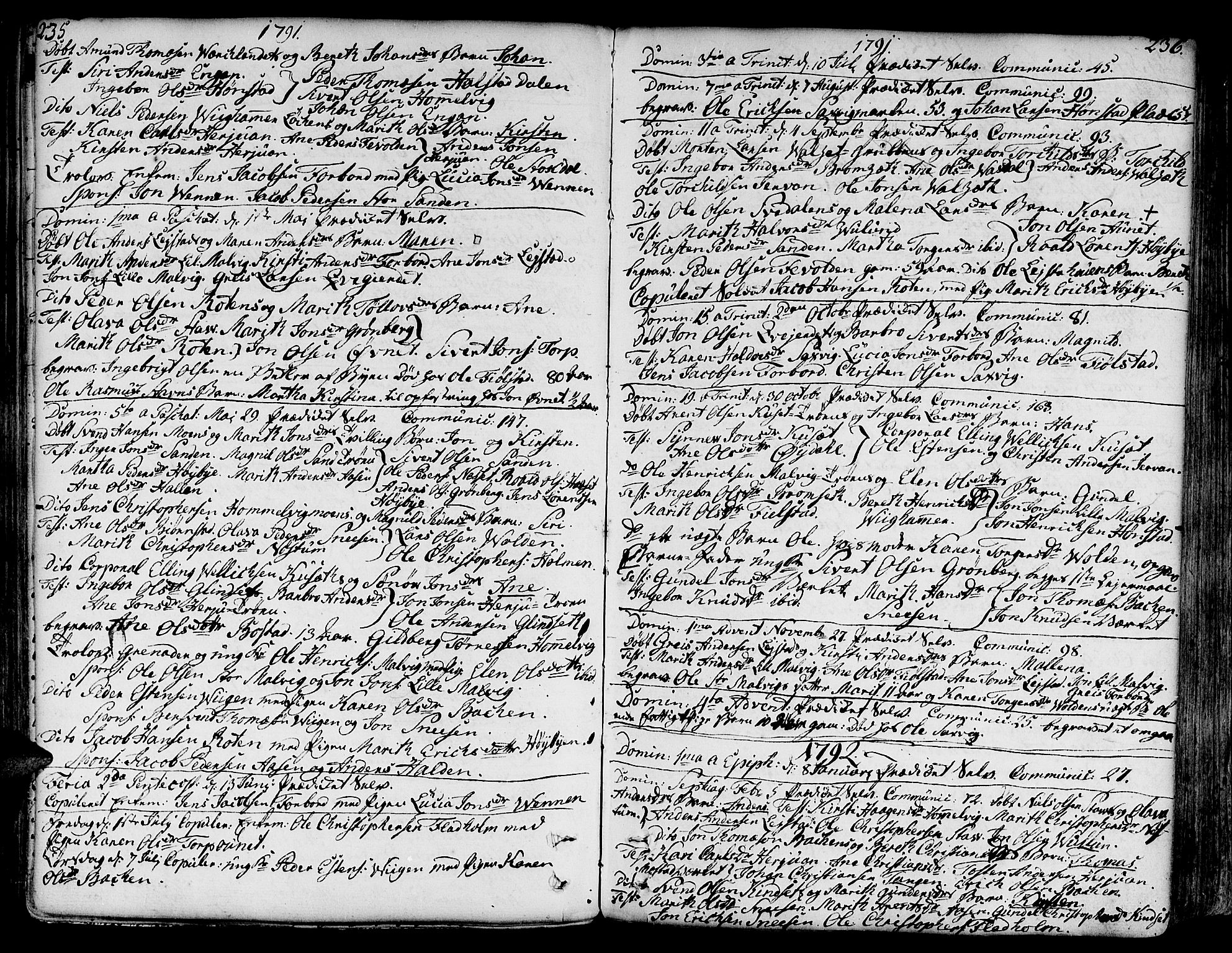 SAT, Ministerialprotokoller, klokkerbøker og fødselsregistre - Sør-Trøndelag, 606/L0281: Ministerialbok nr. 606A02 /2, 1781-1817, s. 235-236