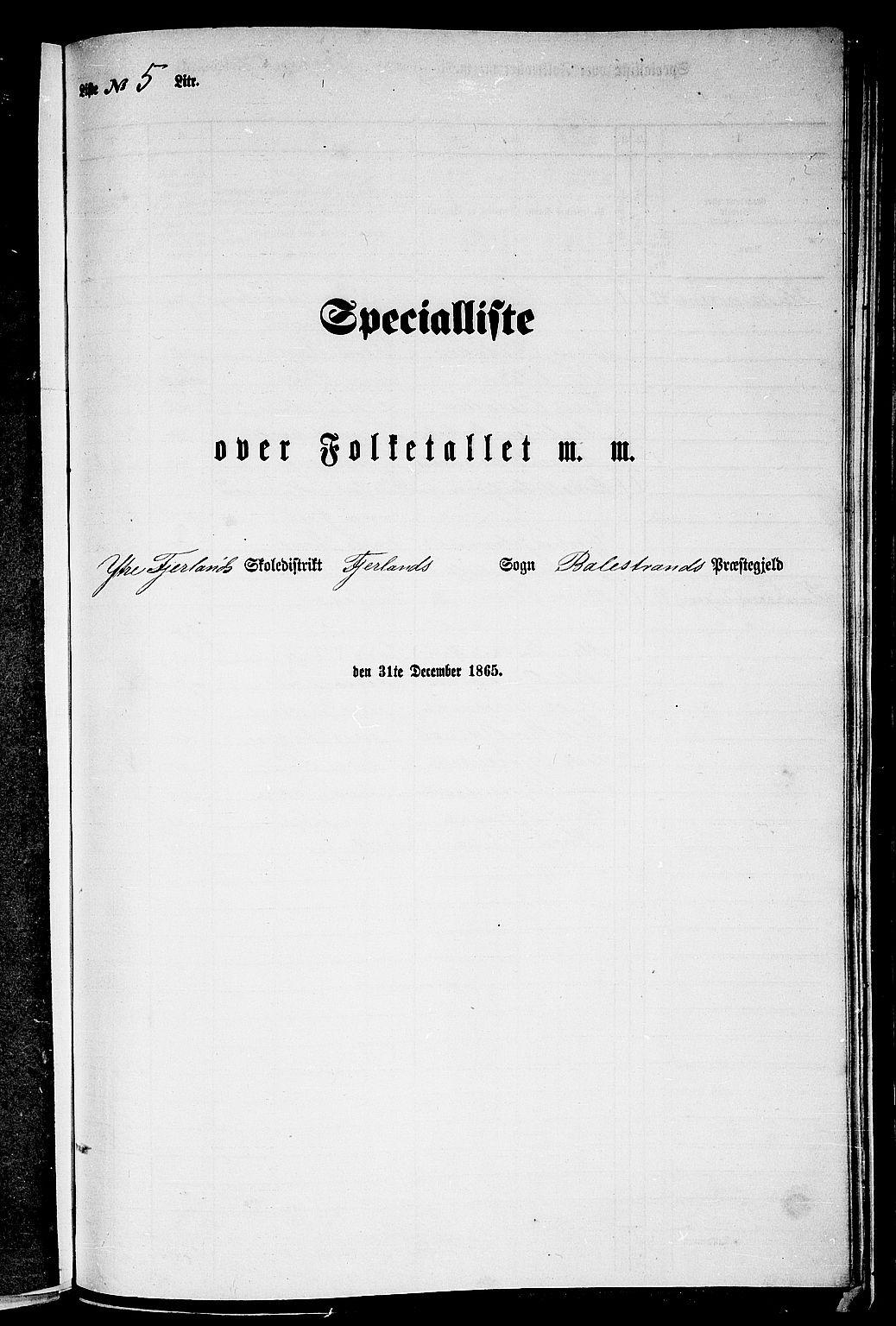 RA, Folketelling 1865 for 1418P Balestrand prestegjeld, 1865, s. 53