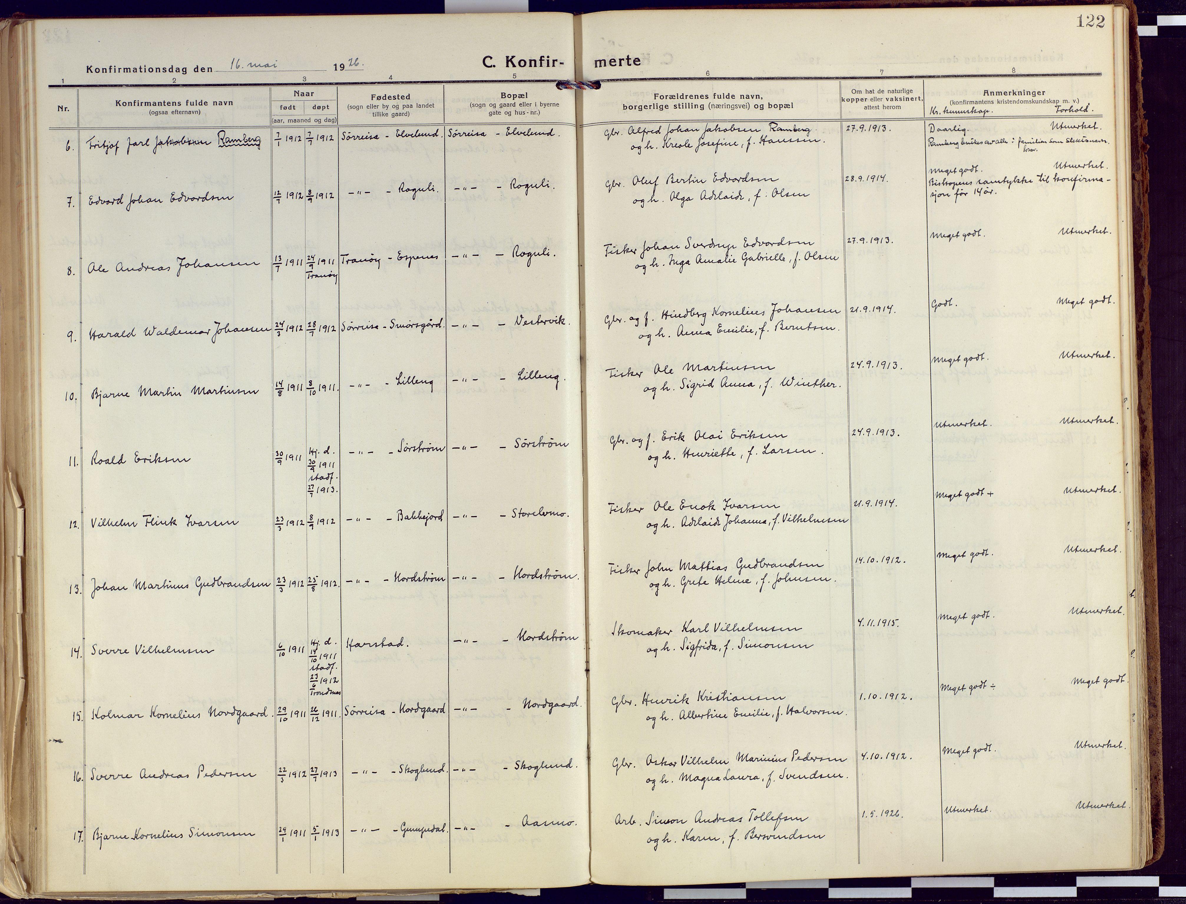 SATØ, Tranøy sokneprestkontor, I/Ia/Iaa/L0015kirke: Ministerialbok nr. 15, 1919-1928, s. 122