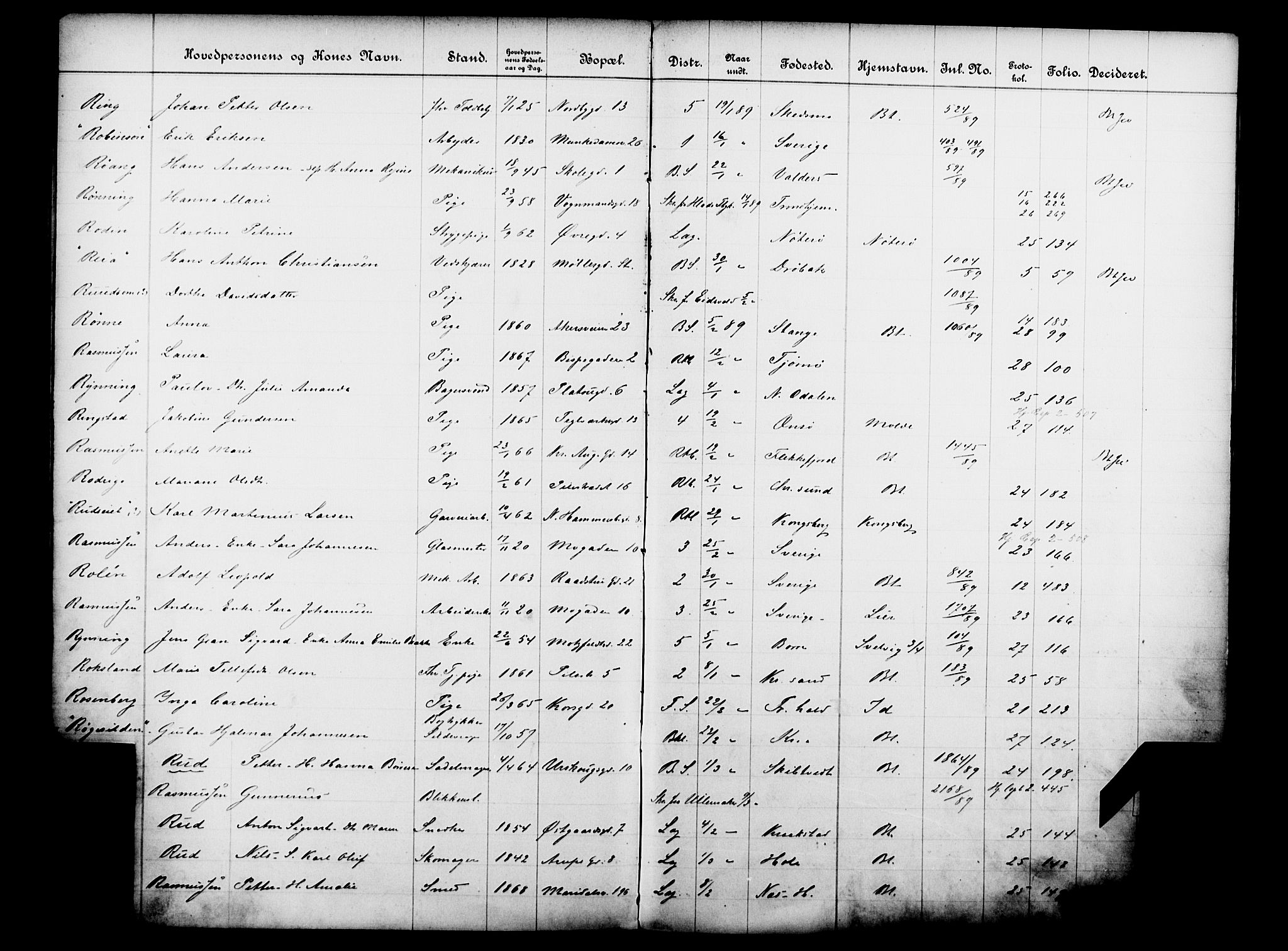 OBA, Fattigvesenet, Fb/L0009: Hjemstavnsregister, 1889, s. 146