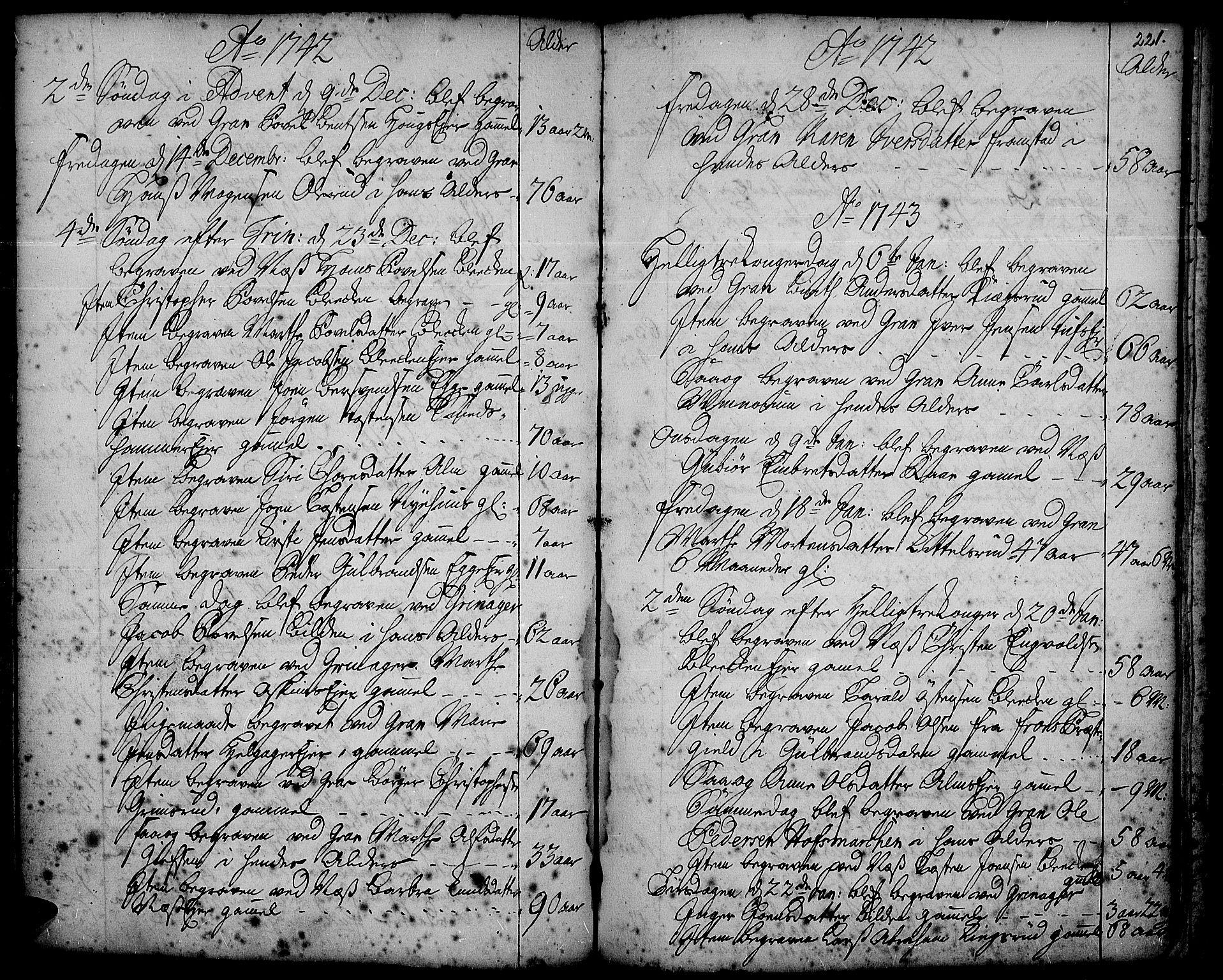 SAH, Gran prestekontor, Ministerialbok nr. 2, 1732-1744, s. 221