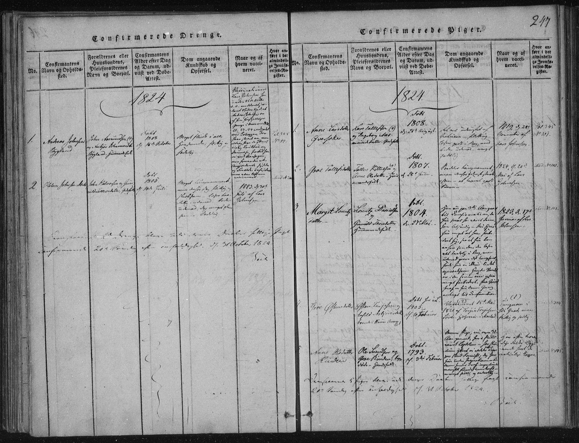 SAKO, Lårdal kirkebøker, F/Fc/L0001: Ministerialbok nr. III 1, 1815-1860, s. 247