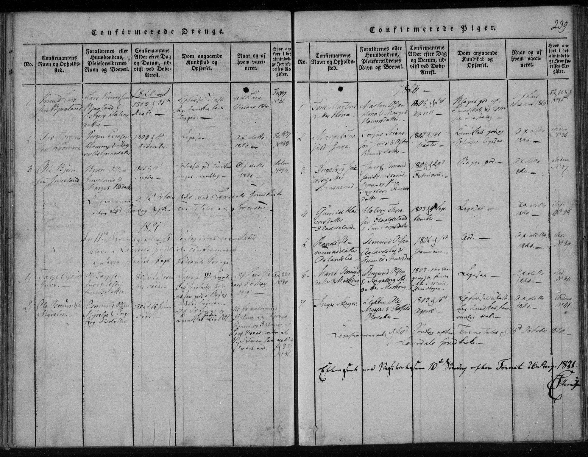 SAKO, Lårdal kirkebøker, F/Fa/L0005: Ministerialbok nr. I 5, 1815-1860, s. 239