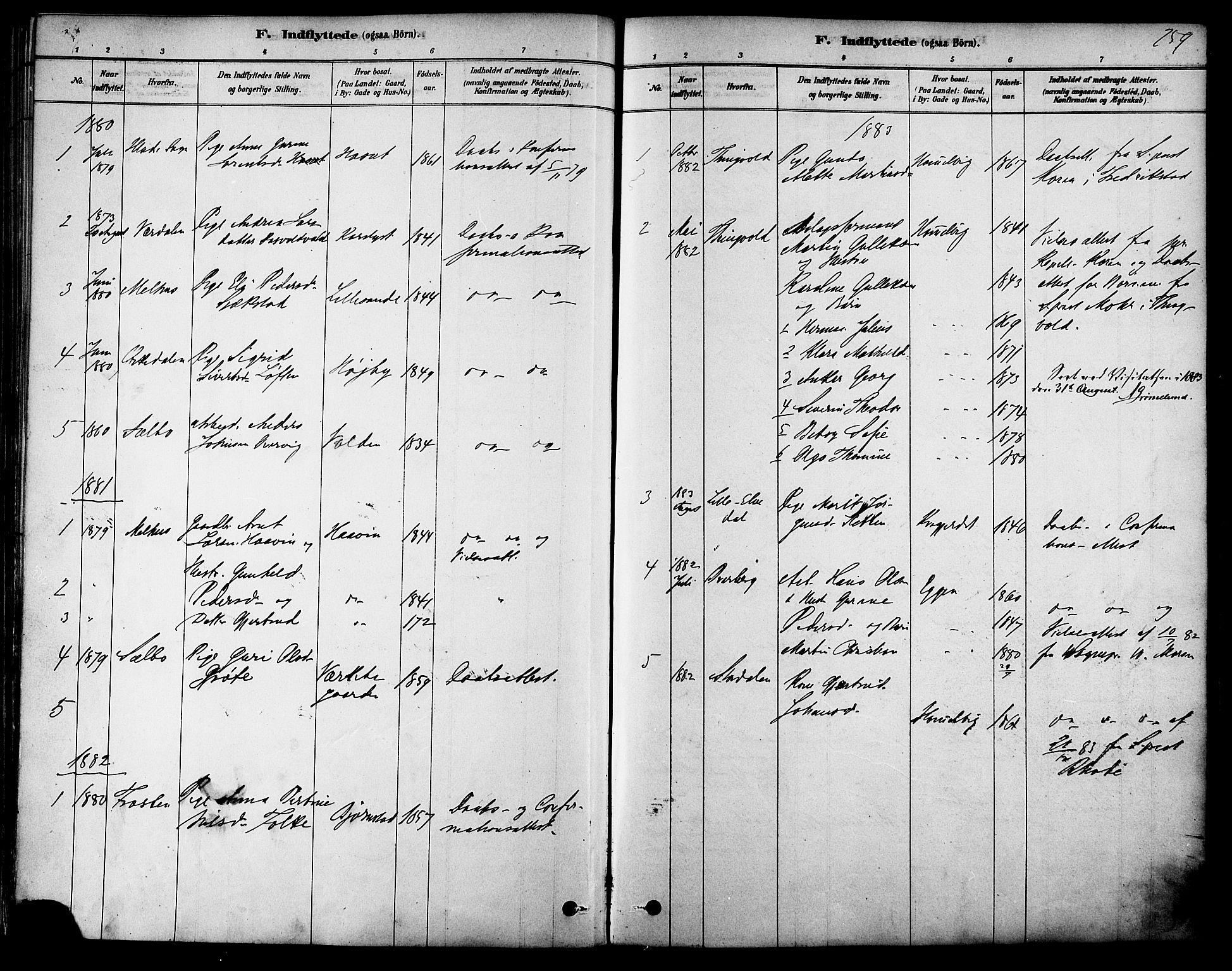 SAT, Ministerialprotokoller, klokkerbøker og fødselsregistre - Sør-Trøndelag, 616/L0410: Ministerialbok nr. 616A07, 1878-1893, s. 259