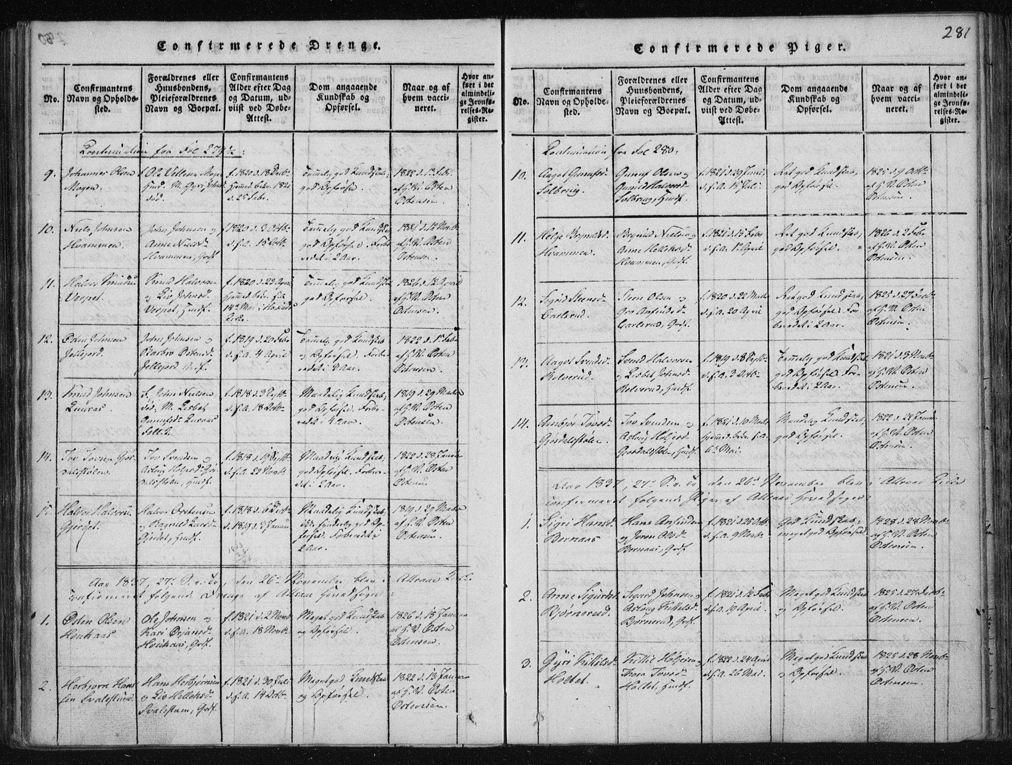 SAKO, Tinn kirkebøker, F/Fa/L0004: Ministerialbok nr. I 4, 1815-1843, s. 281