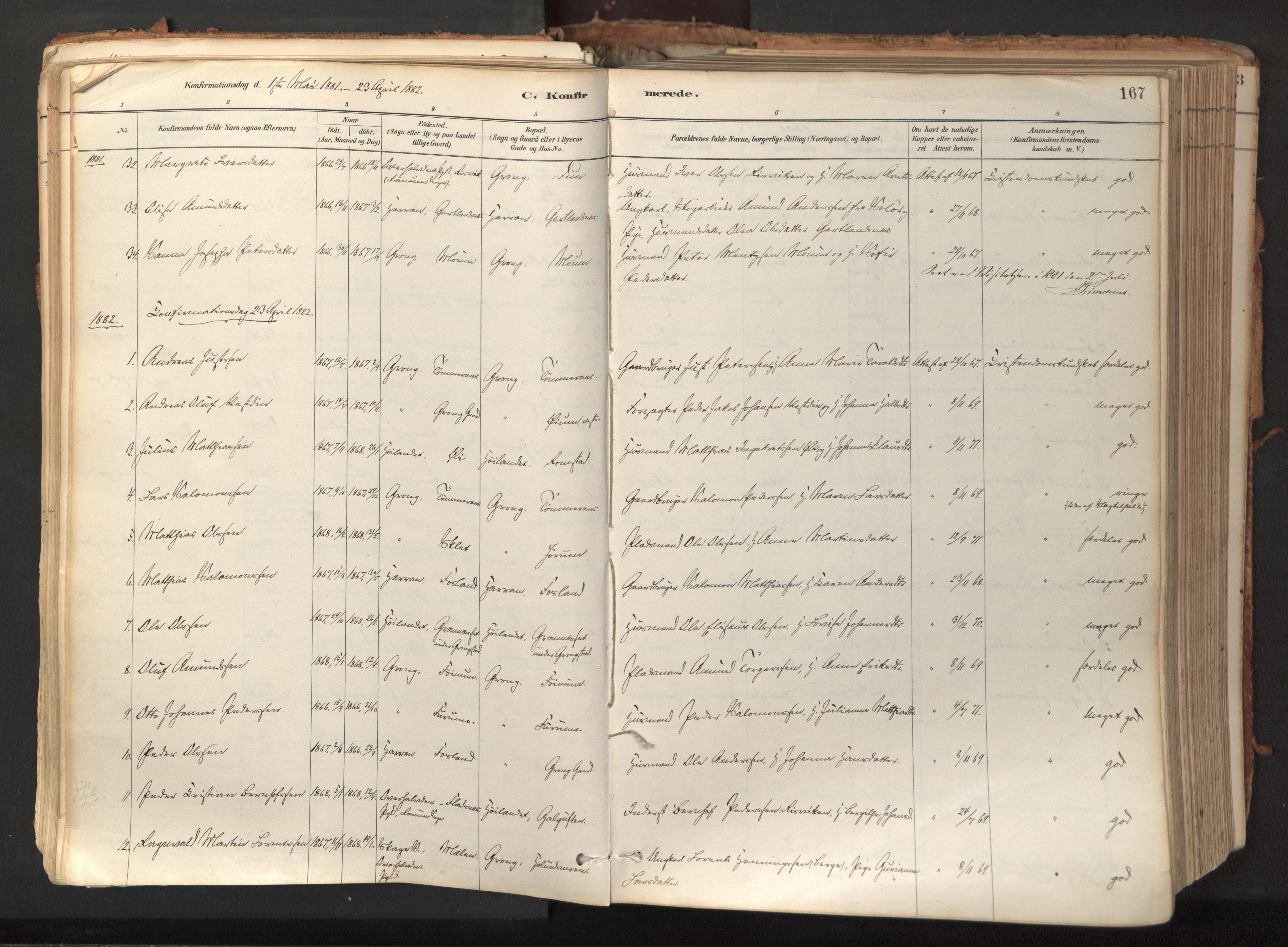 SAT, Ministerialprotokoller, klokkerbøker og fødselsregistre - Nord-Trøndelag, 758/L0519: Ministerialbok nr. 758A04, 1880-1926, s. 167