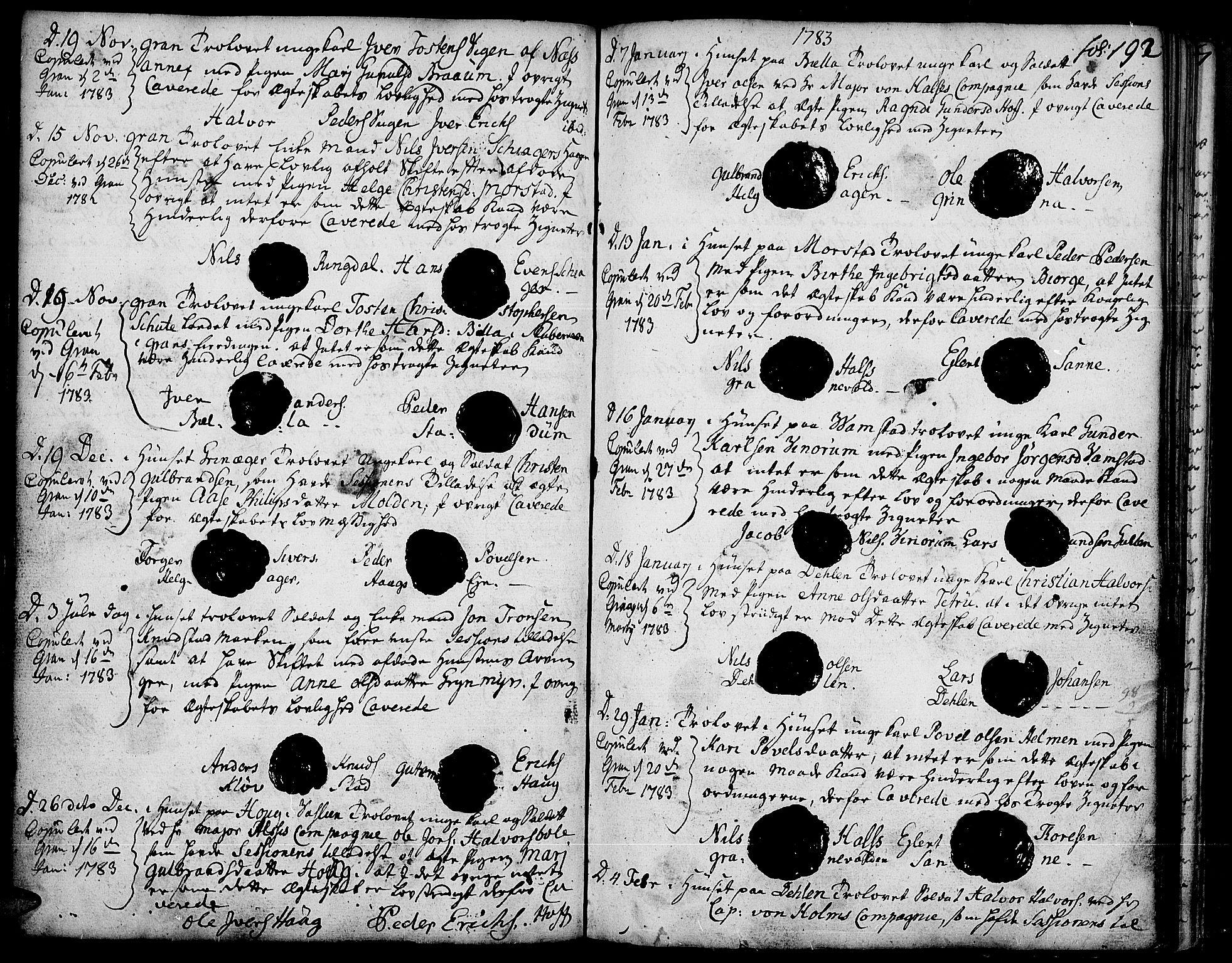 SAH, Gran prestekontor, Ministerialbok nr. 5, 1776-1788, s. 192