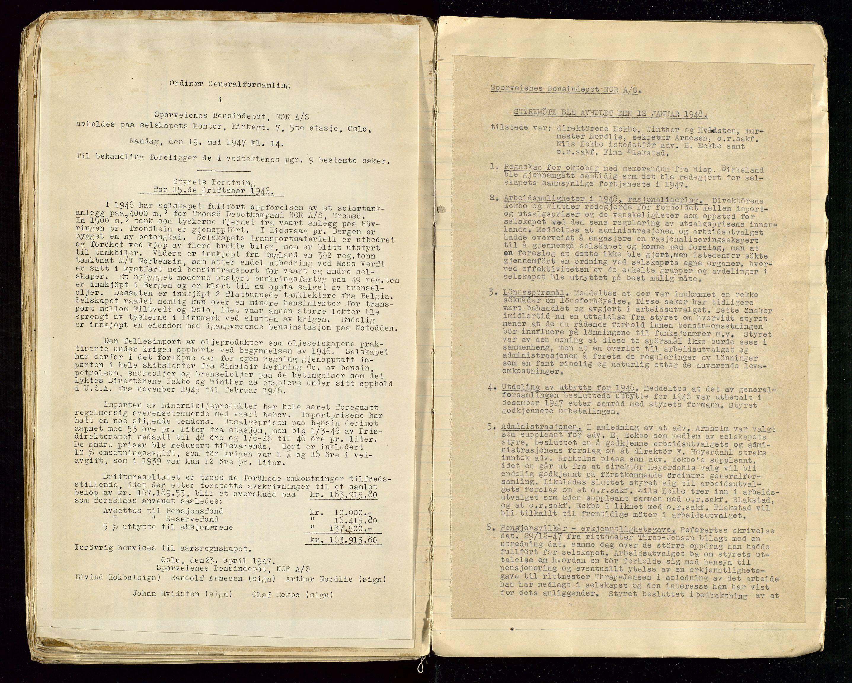 SAST, PA 1514 - Sporveienes Bensindepot, Norsk Oljeraffineri A/S, A/L0001: Styreprotokoll. Forhandlingsprotokoll Arbeidsutvaget, 1932-1949, s. 103