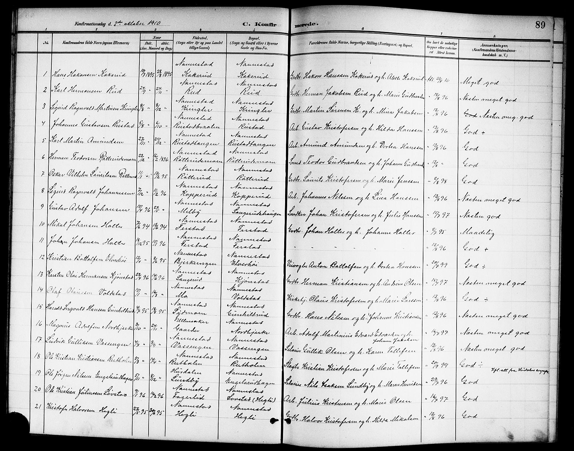 SAO, Nannestad prestekontor Kirkebøker, G/Ga/L0002: Klokkerbok nr. I 2, 1901-1913, s. 89