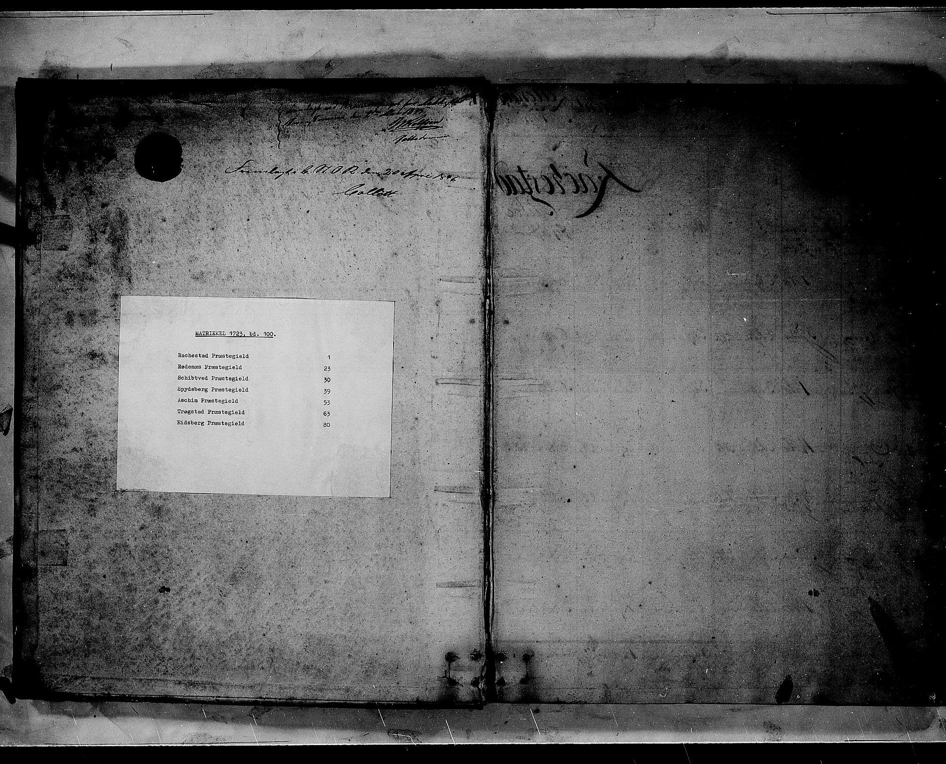 RA, Rentekammeret inntil 1814, Realistisk ordnet avdeling, N/Nb/Nbf/L0100: Rakkestad, Heggen og Frøland matrikkelprotokoll, 1723, s. upaginert