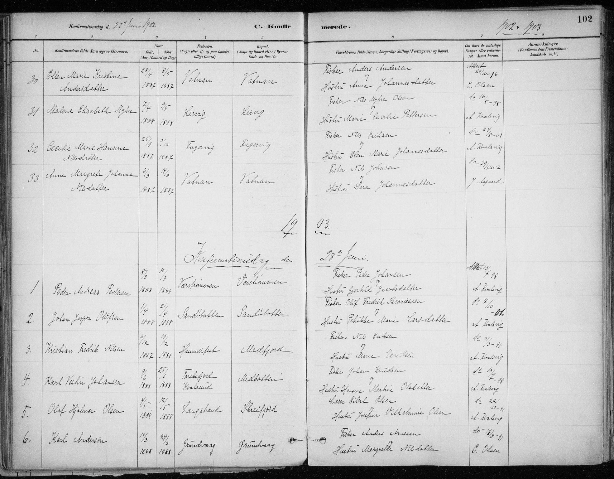 SATØ, Hammerfest sokneprestkontor, H/Ha/L0013.kirke: Ministerialbok nr. 13, 1898-1917, s. 102