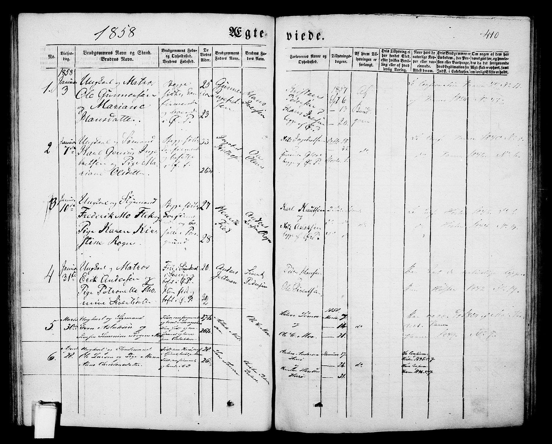 SAKO, Porsgrunn kirkebøker , G/Gb/L0004: Klokkerbok nr. II 4, 1853-1882, s. 410