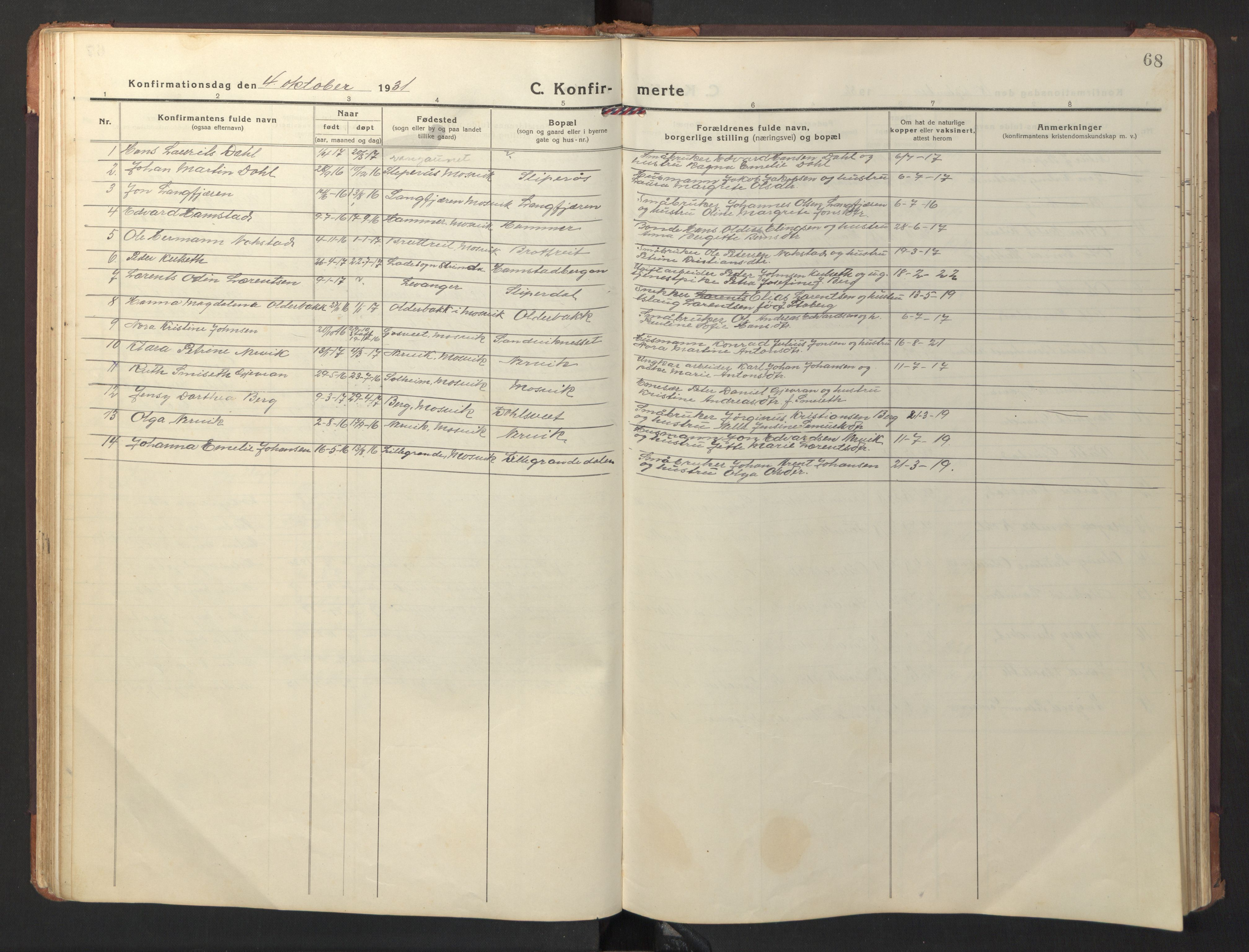 SAT, Ministerialprotokoller, klokkerbøker og fødselsregistre - Nord-Trøndelag, 733/L0328: Klokkerbok nr. 733C03, 1919-1966, s. 68