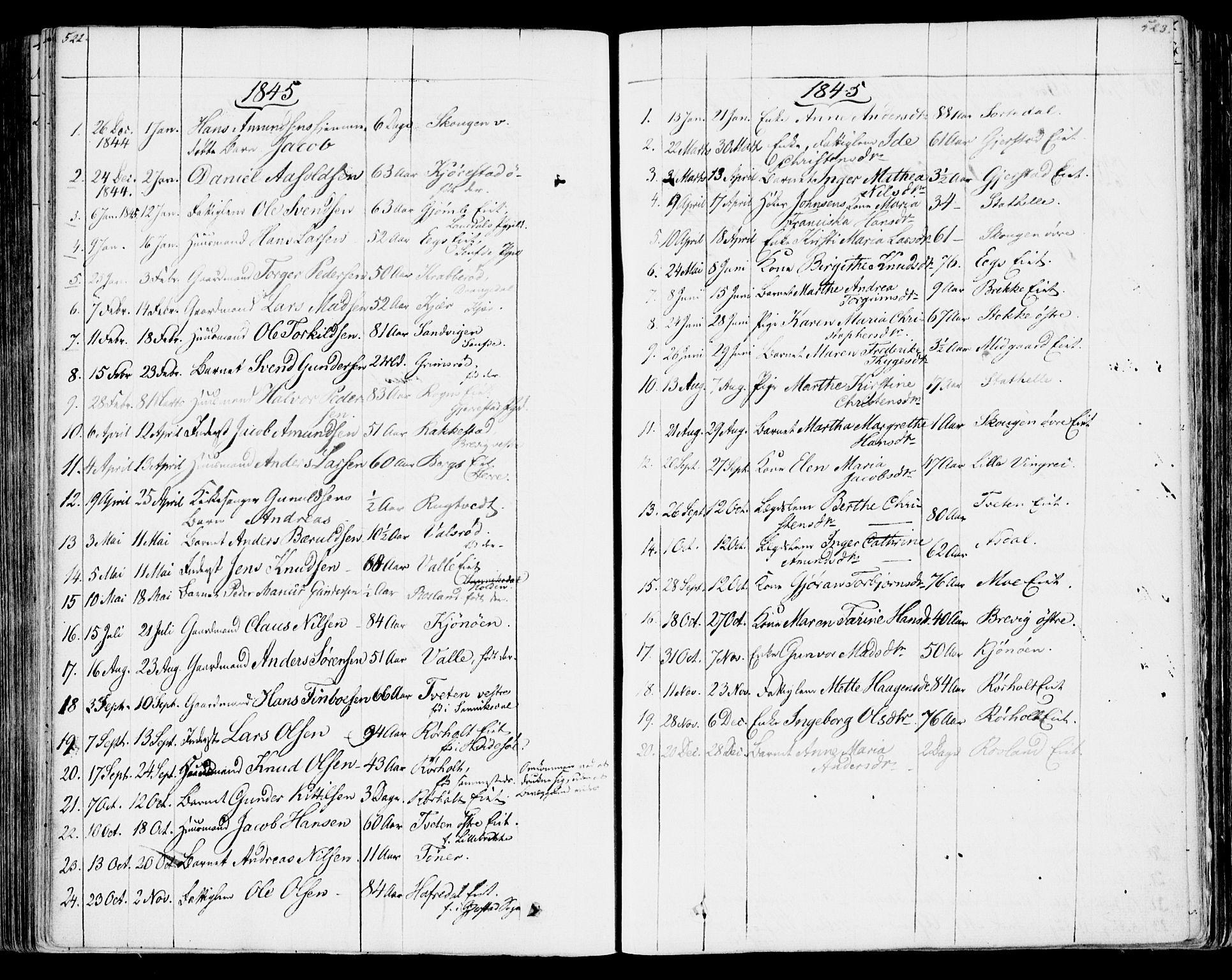 SAKO, Bamble kirkebøker, F/Fa/L0004: Ministerialbok nr. I 4, 1834-1853, s. 522-523