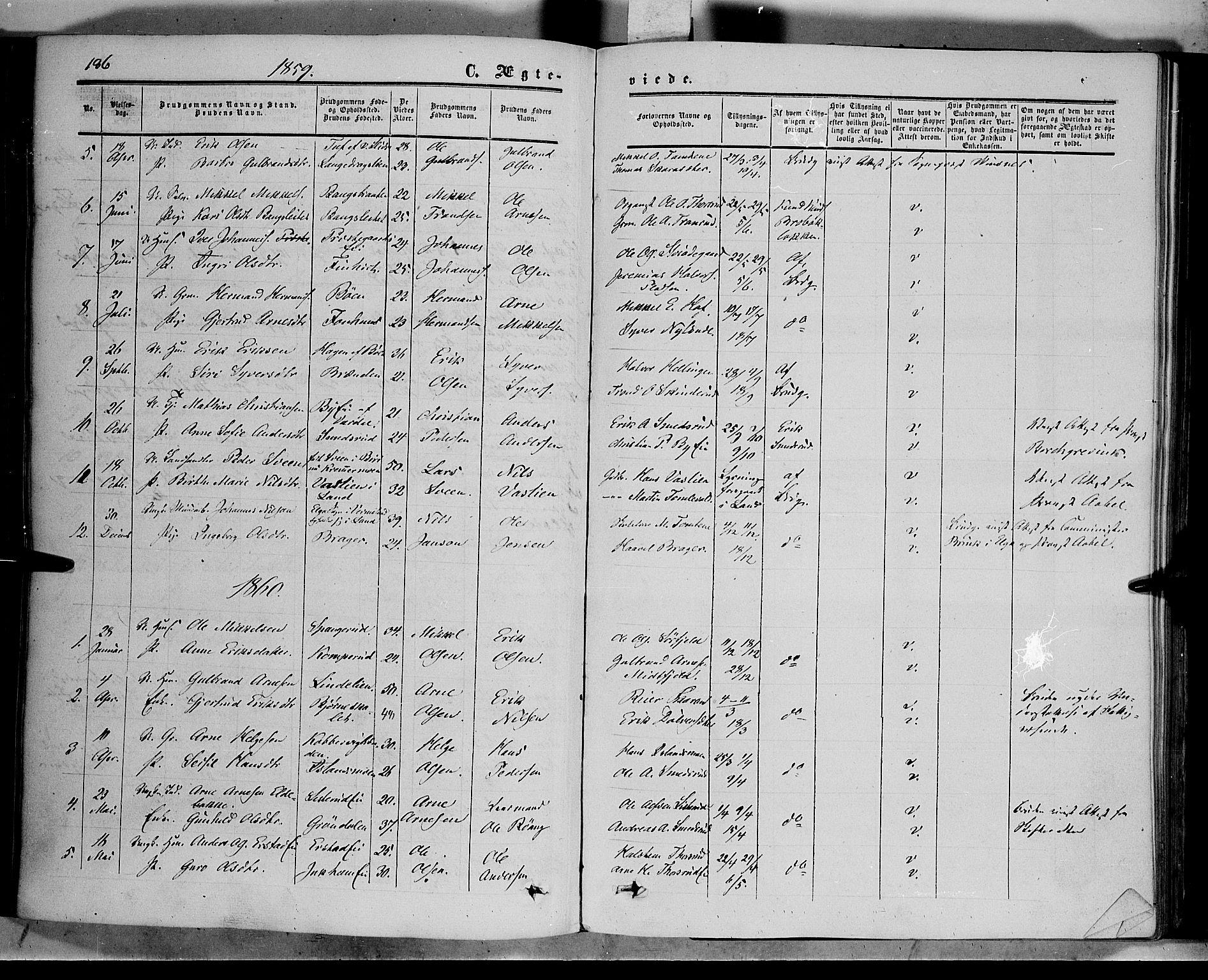 SAH, Sør-Aurdal prestekontor, Ministerialbok nr. 5, 1849-1876, s. 186