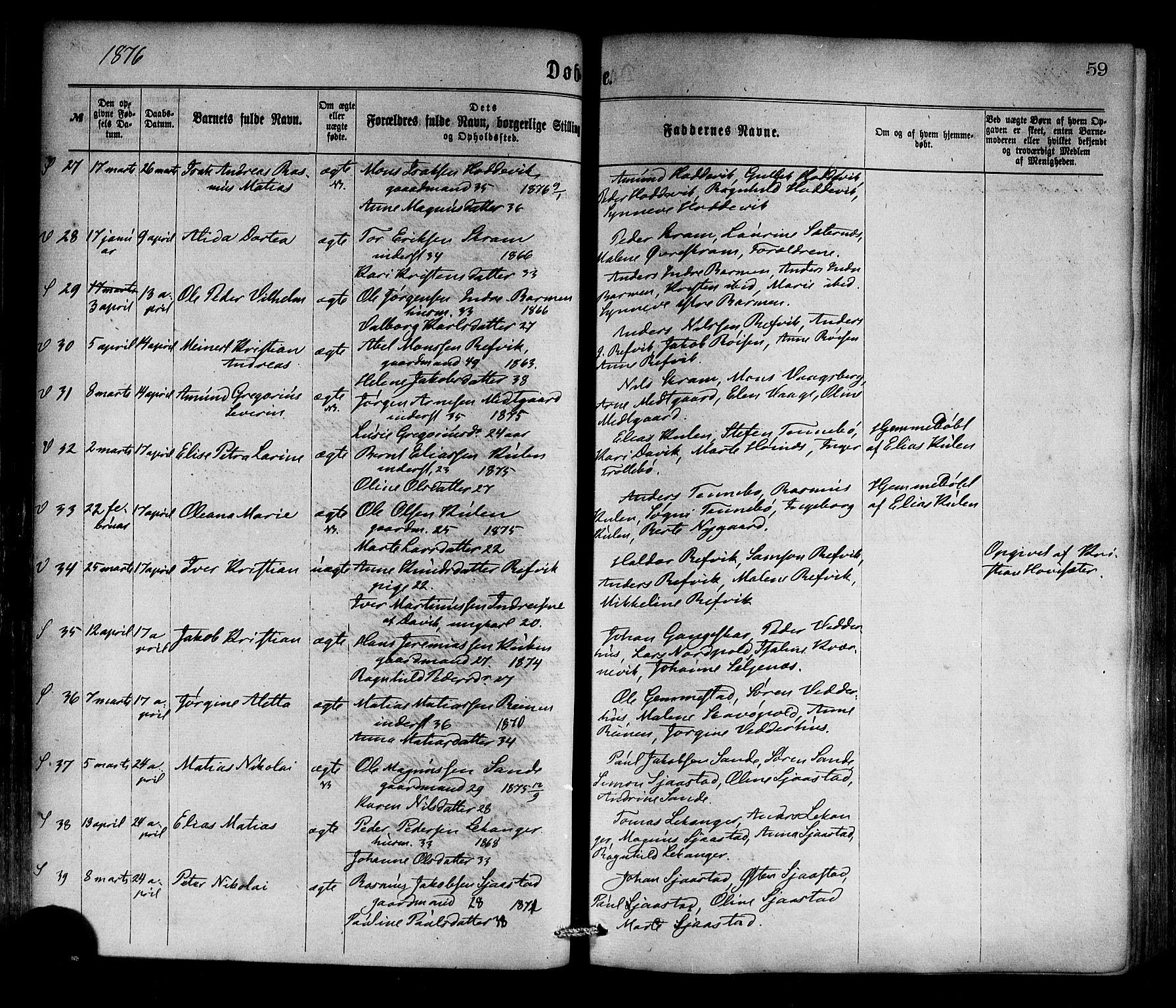 SAB, Selje sokneprestembete*, Ministerialbok nr. A 12, 1870-1880, s. 59