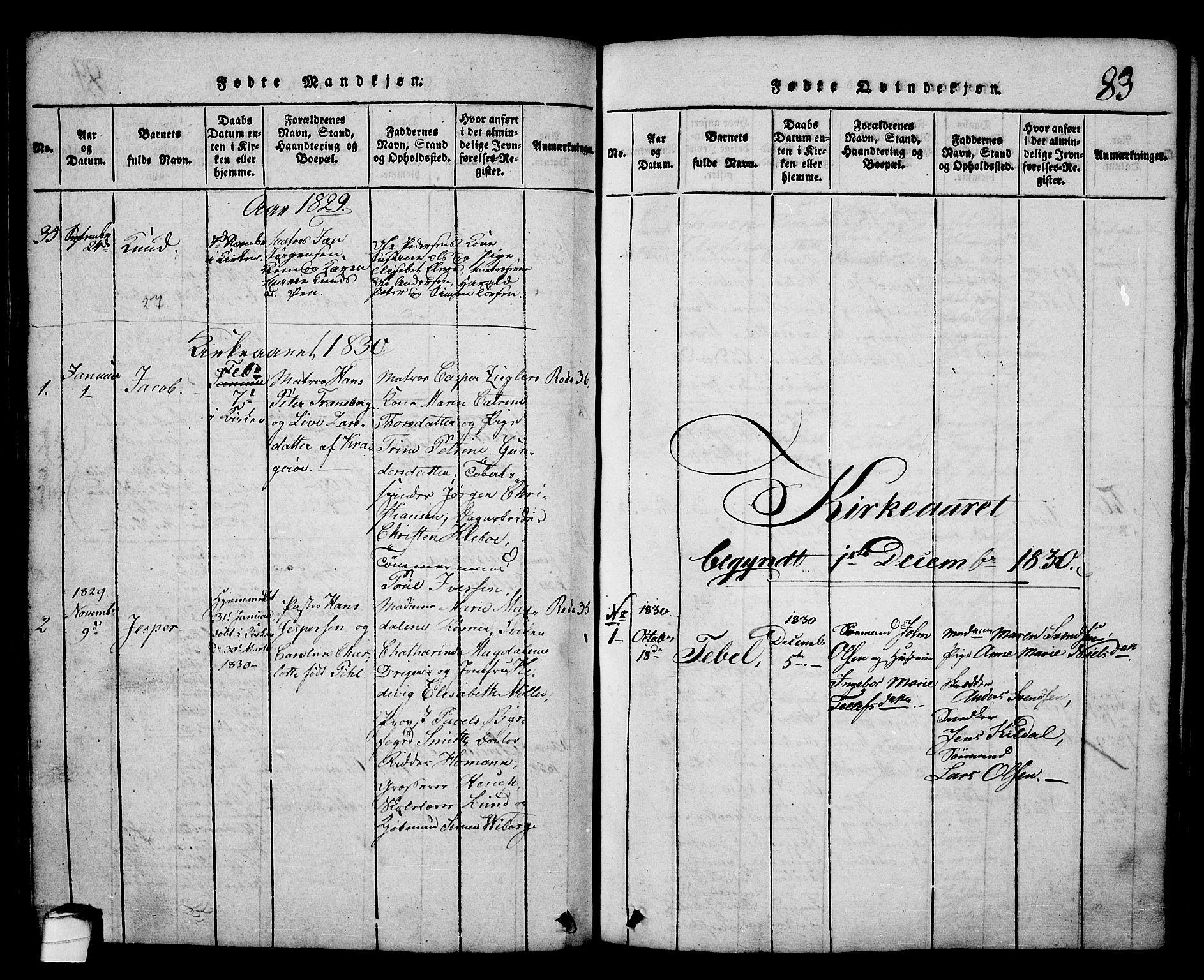 SAKO, Kragerø kirkebøker, G/Ga/L0002: Klokkerbok nr. 2, 1814-1831, s. 83