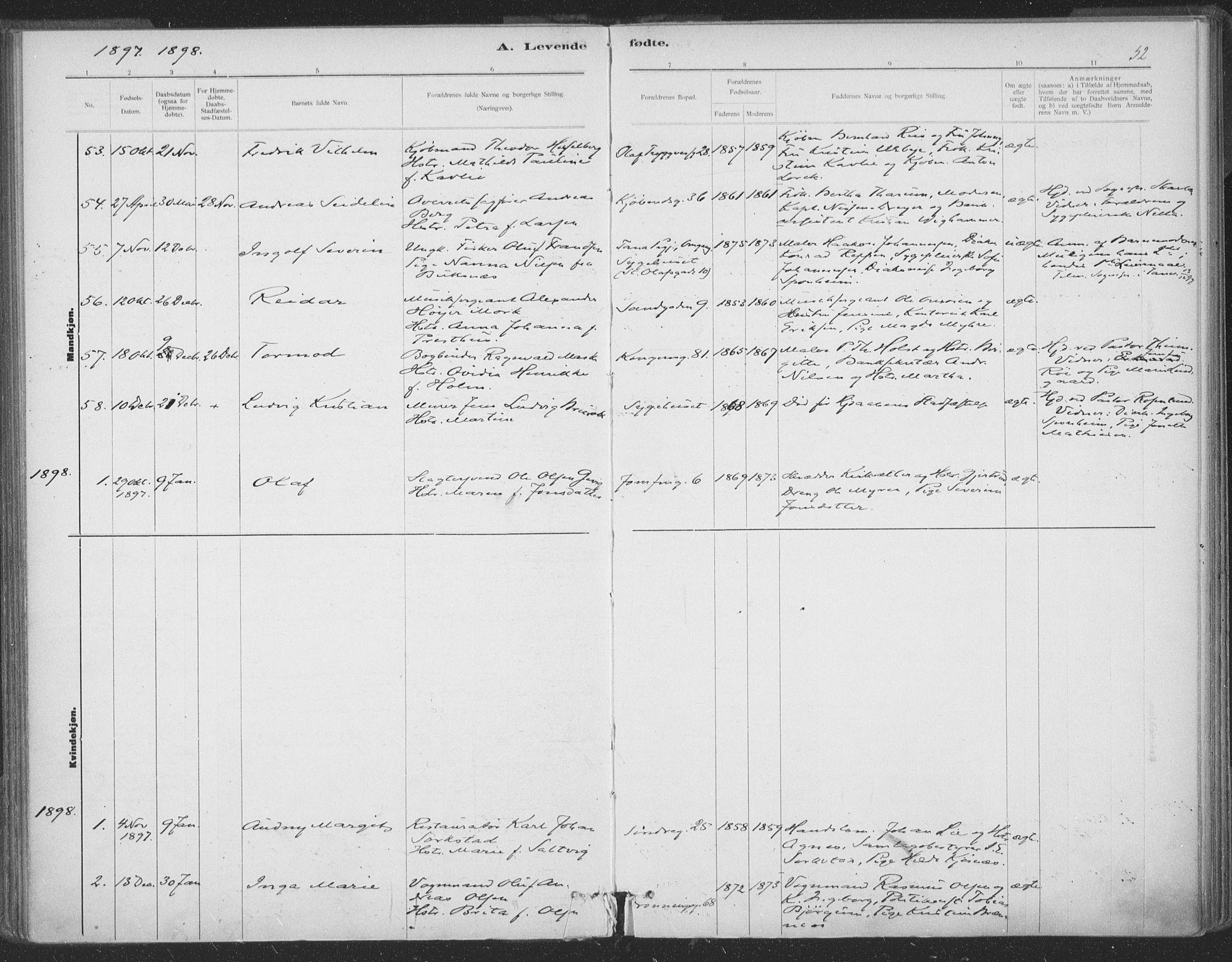 SAT, Ministerialprotokoller, klokkerbøker og fødselsregistre - Sør-Trøndelag, 602/L0122: Ministerialbok nr. 602A20, 1892-1908, s. 52