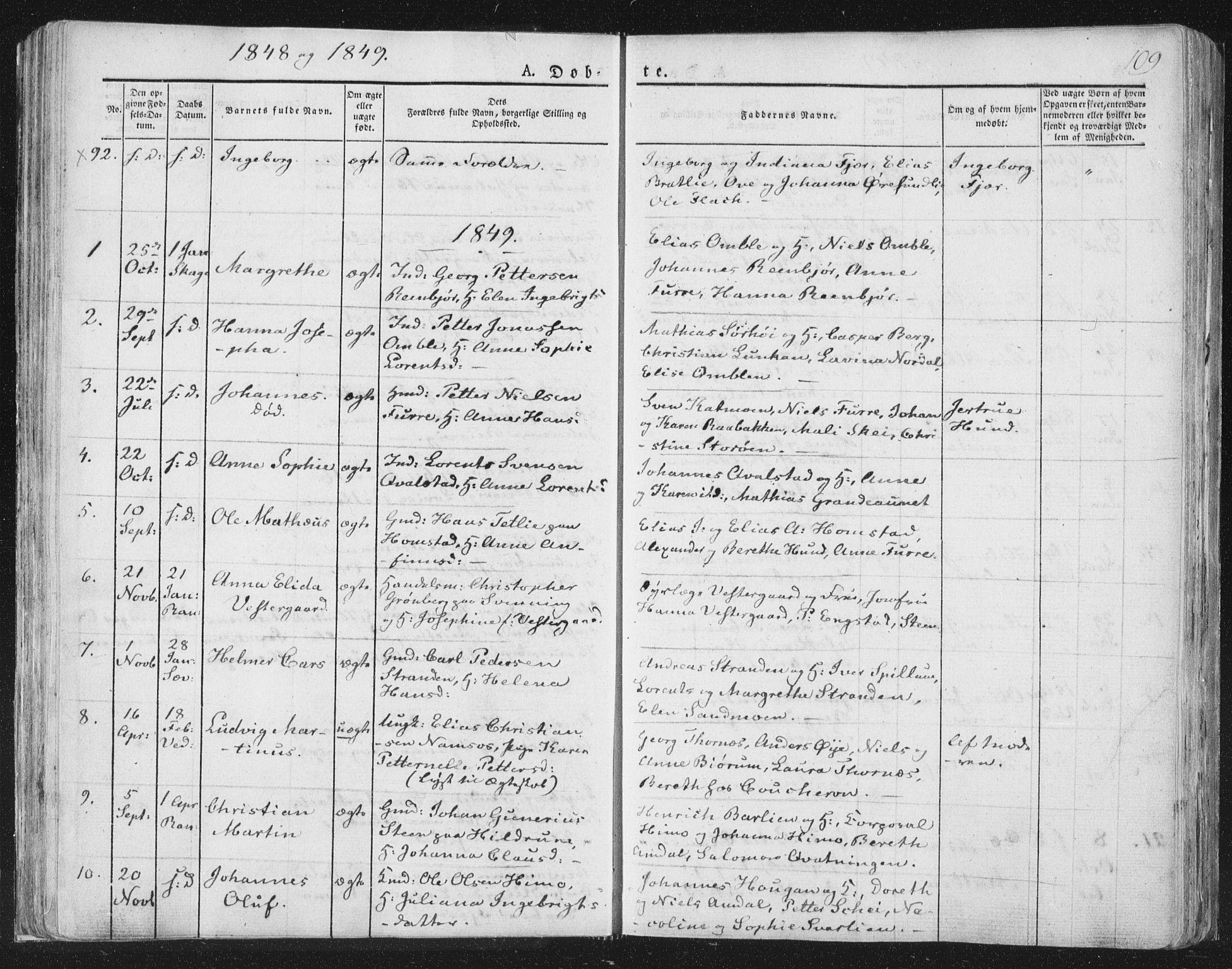 SAT, Ministerialprotokoller, klokkerbøker og fødselsregistre - Nord-Trøndelag, 764/L0551: Ministerialbok nr. 764A07a, 1824-1864, s. 109