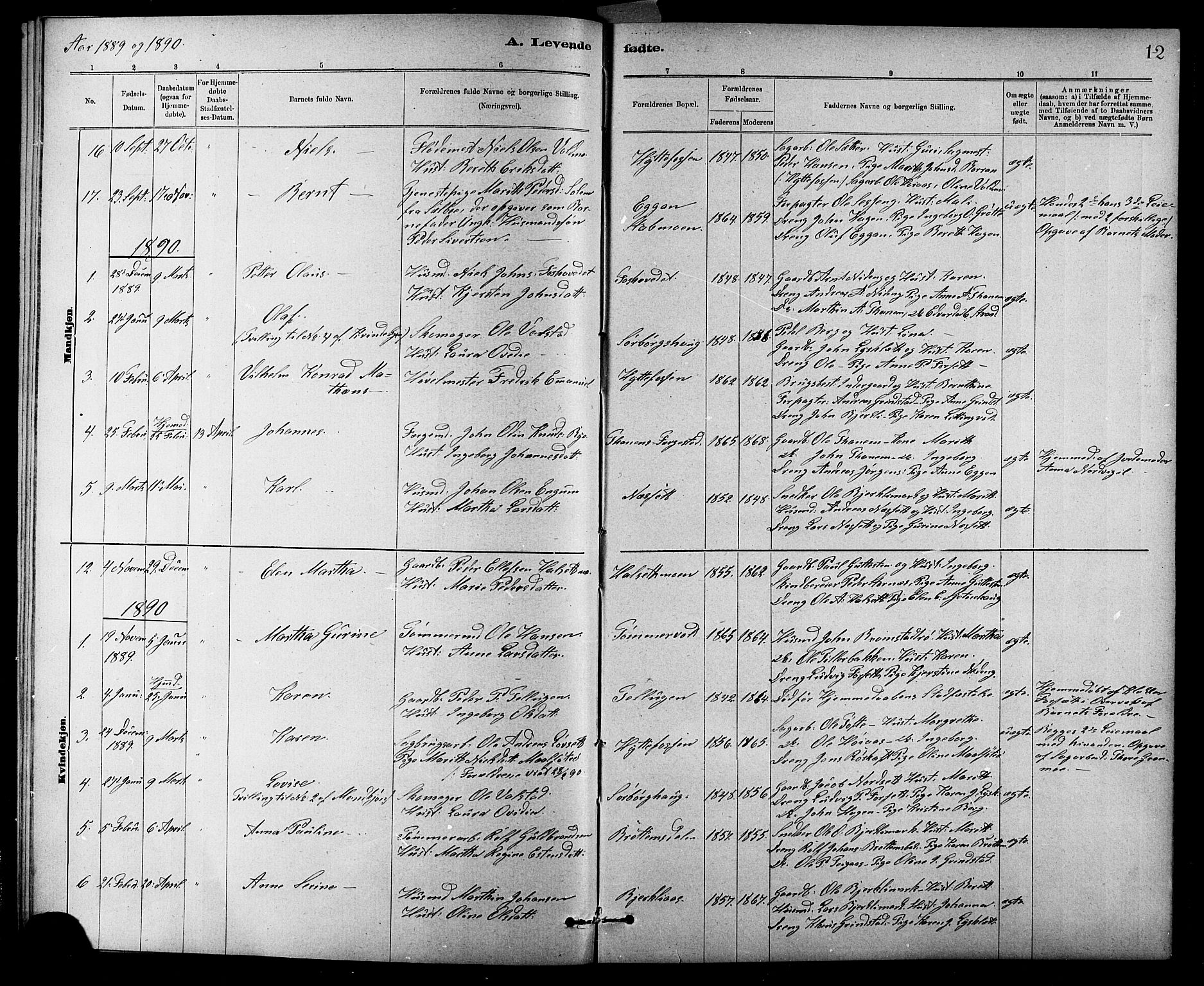 SAT, Ministerialprotokoller, klokkerbøker og fødselsregistre - Sør-Trøndelag, 618/L0452: Klokkerbok nr. 618C03, 1884-1906, s. 12