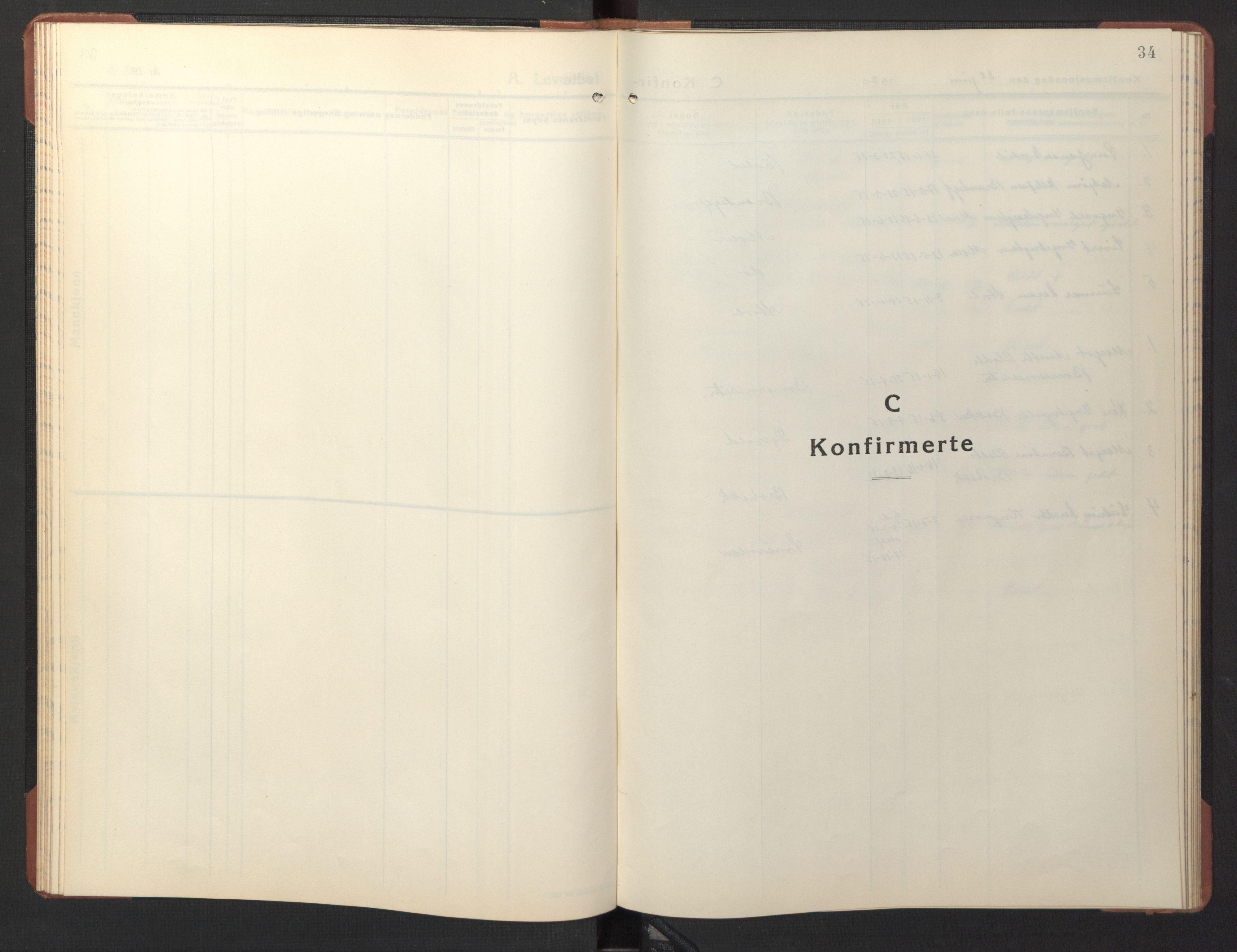 SAT, Ministerialprotokoller, klokkerbøker og fødselsregistre - Sør-Trøndelag, 690/L1053: Klokkerbok nr. 690C03, 1930-1947, s. 34