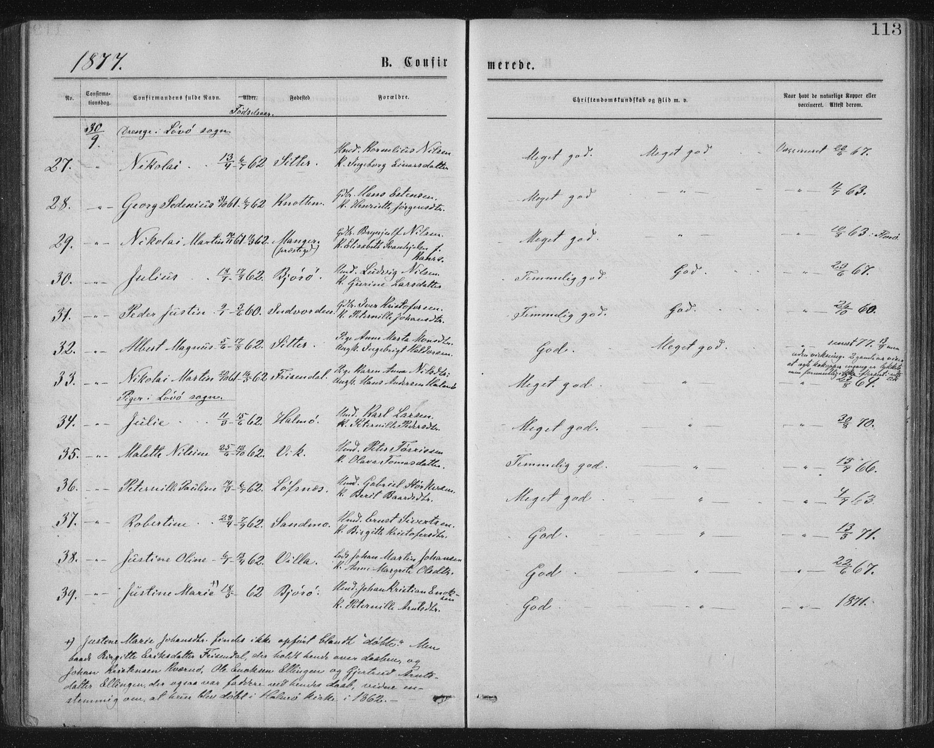 SAT, Ministerialprotokoller, klokkerbøker og fødselsregistre - Nord-Trøndelag, 771/L0596: Ministerialbok nr. 771A03, 1870-1884, s. 113