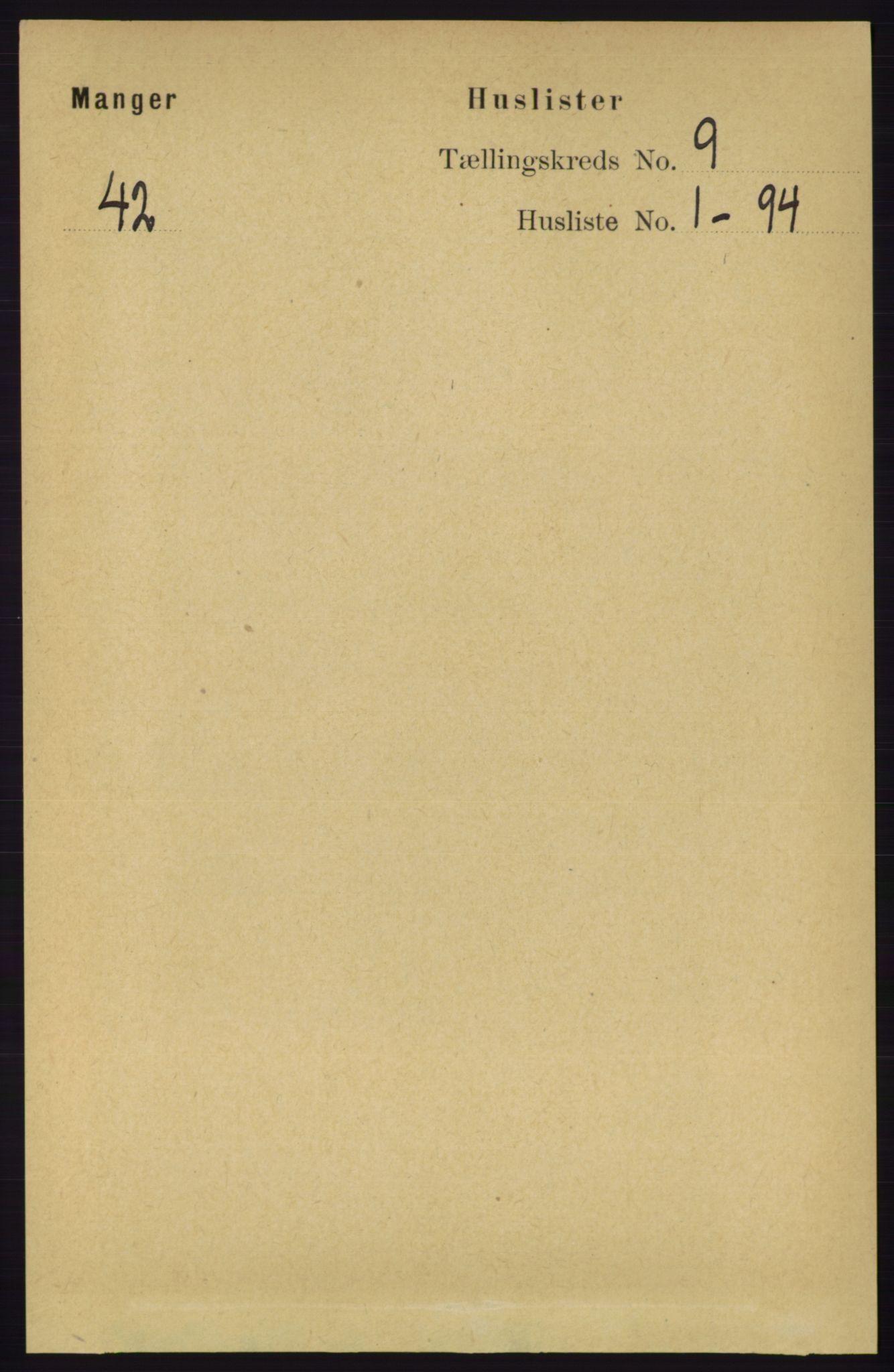 RA, Folketelling 1891 for 1261 Manger herred, 1891, s. 5604