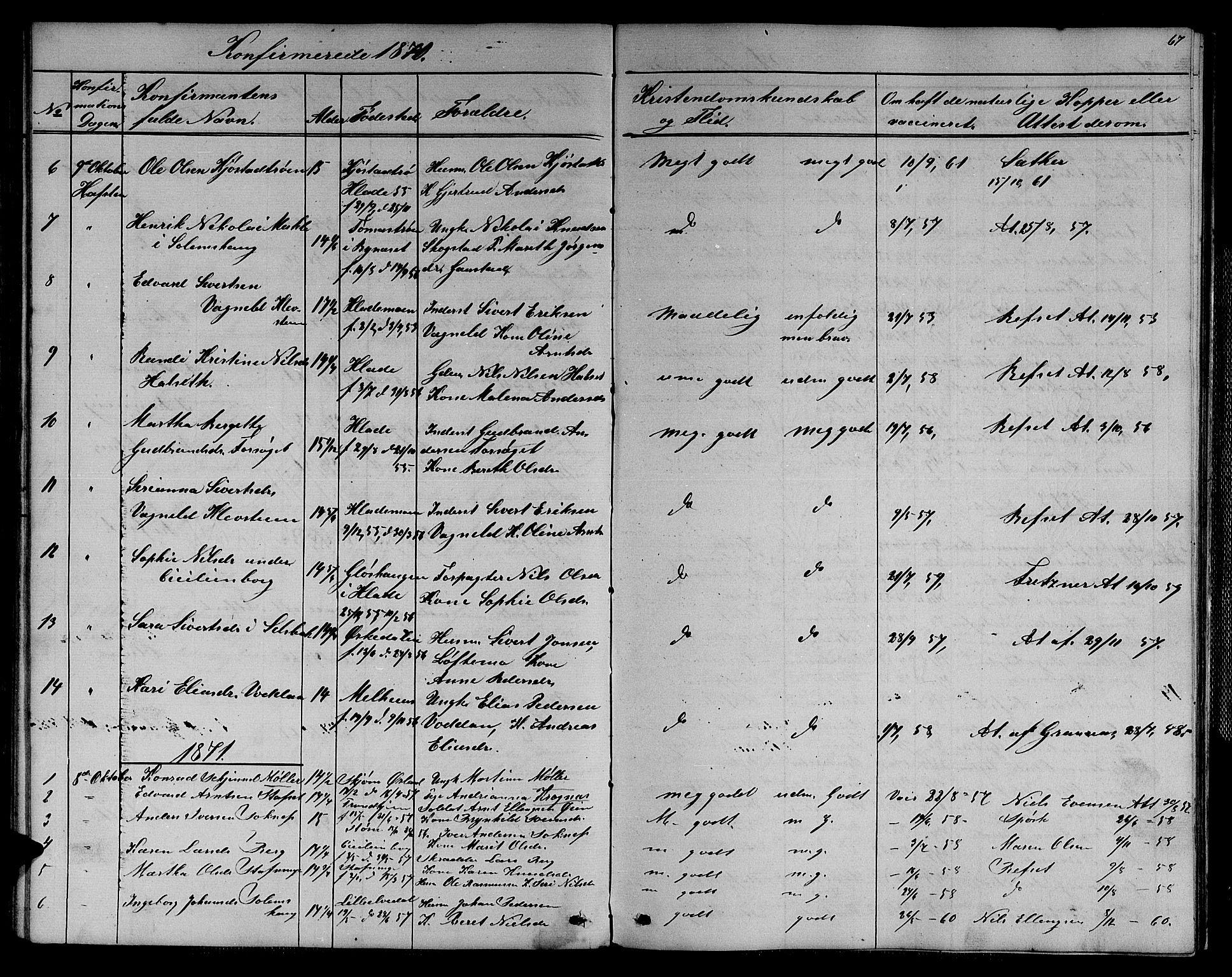 SAT, Ministerialprotokoller, klokkerbøker og fødselsregistre - Sør-Trøndelag, 611/L0353: Klokkerbok nr. 611C01, 1854-1881, s. 67