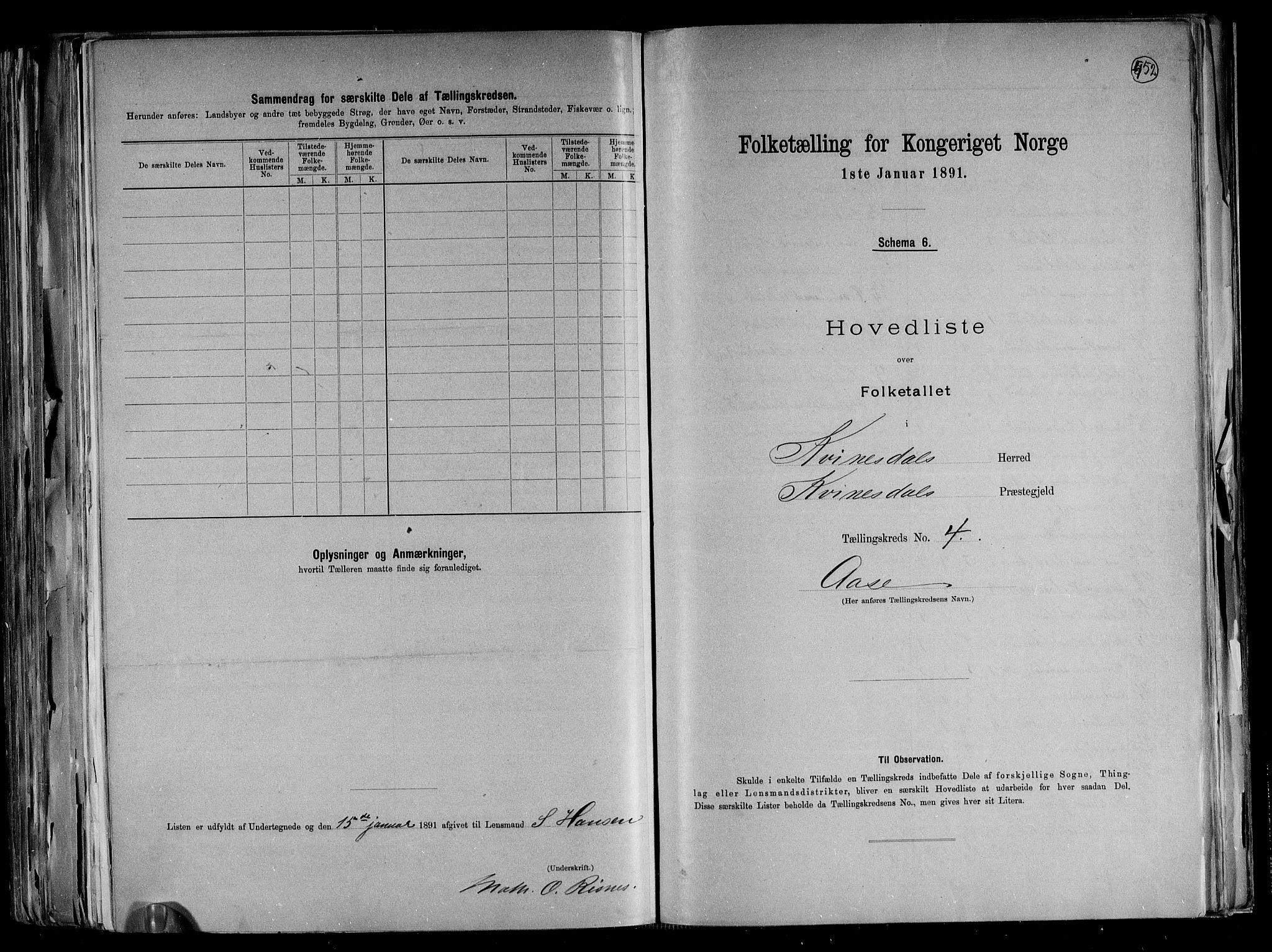 RA, Folketelling 1891 for 1037 Kvinesdal herred, 1891, s. 14