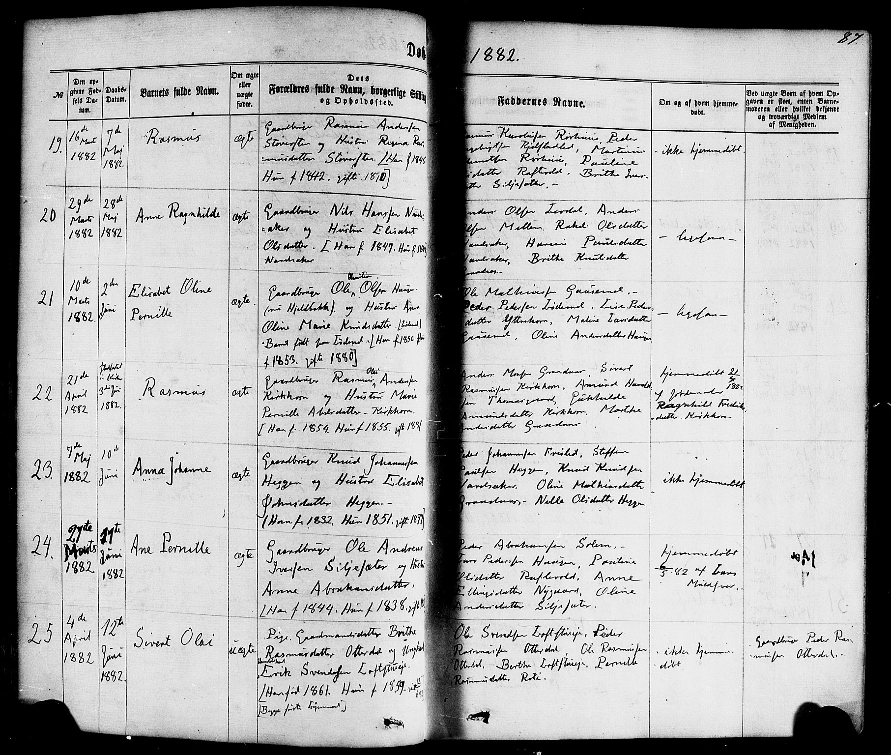 SAB, Hornindal sokneprestembete, H/Haa/Haaa/L0002: Ministerialbok nr. A 2, 1867-1884, s. 87
