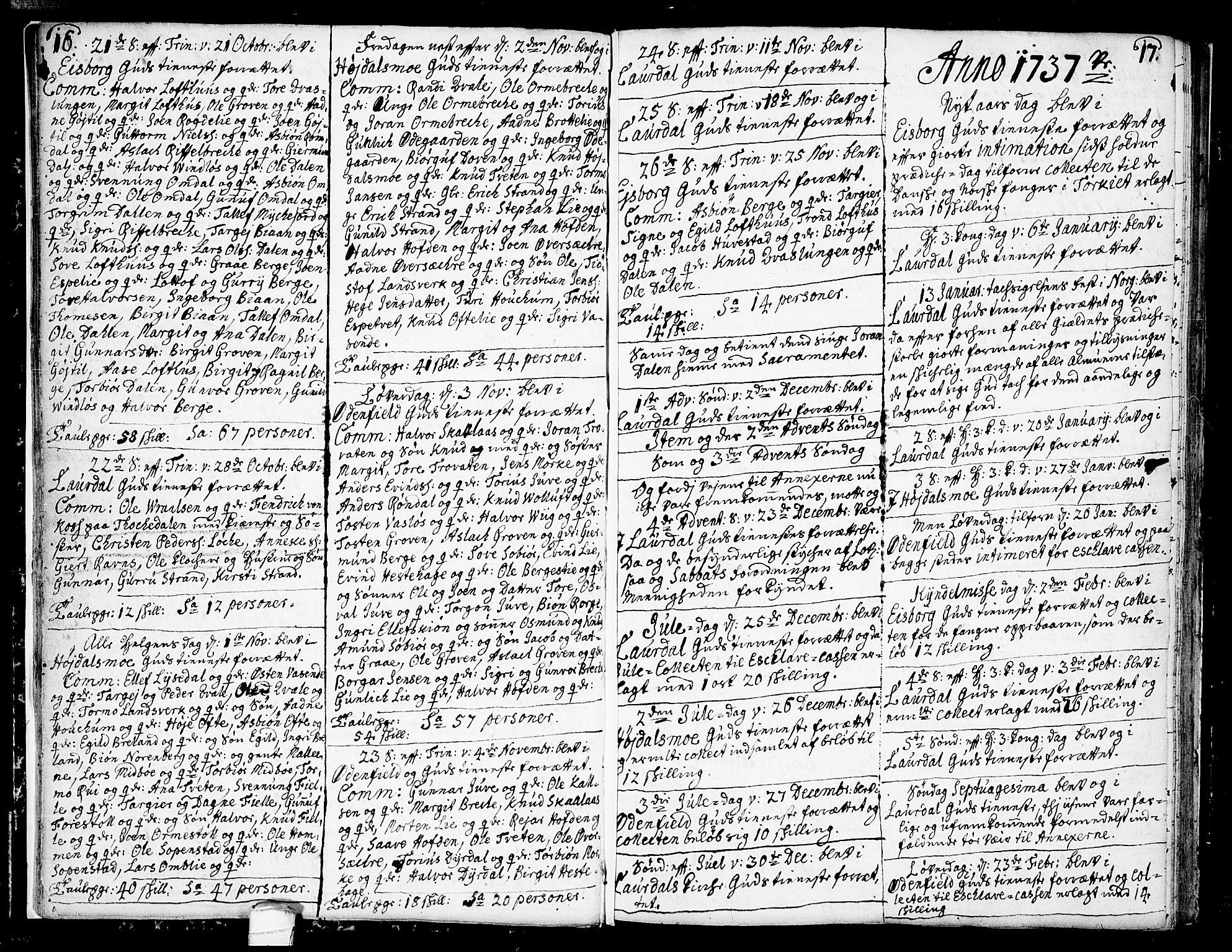 SAKO, Lårdal kirkebøker, F/Fa/L0002: Ministerialbok nr. I 2, 1734-1754, s. 16-17