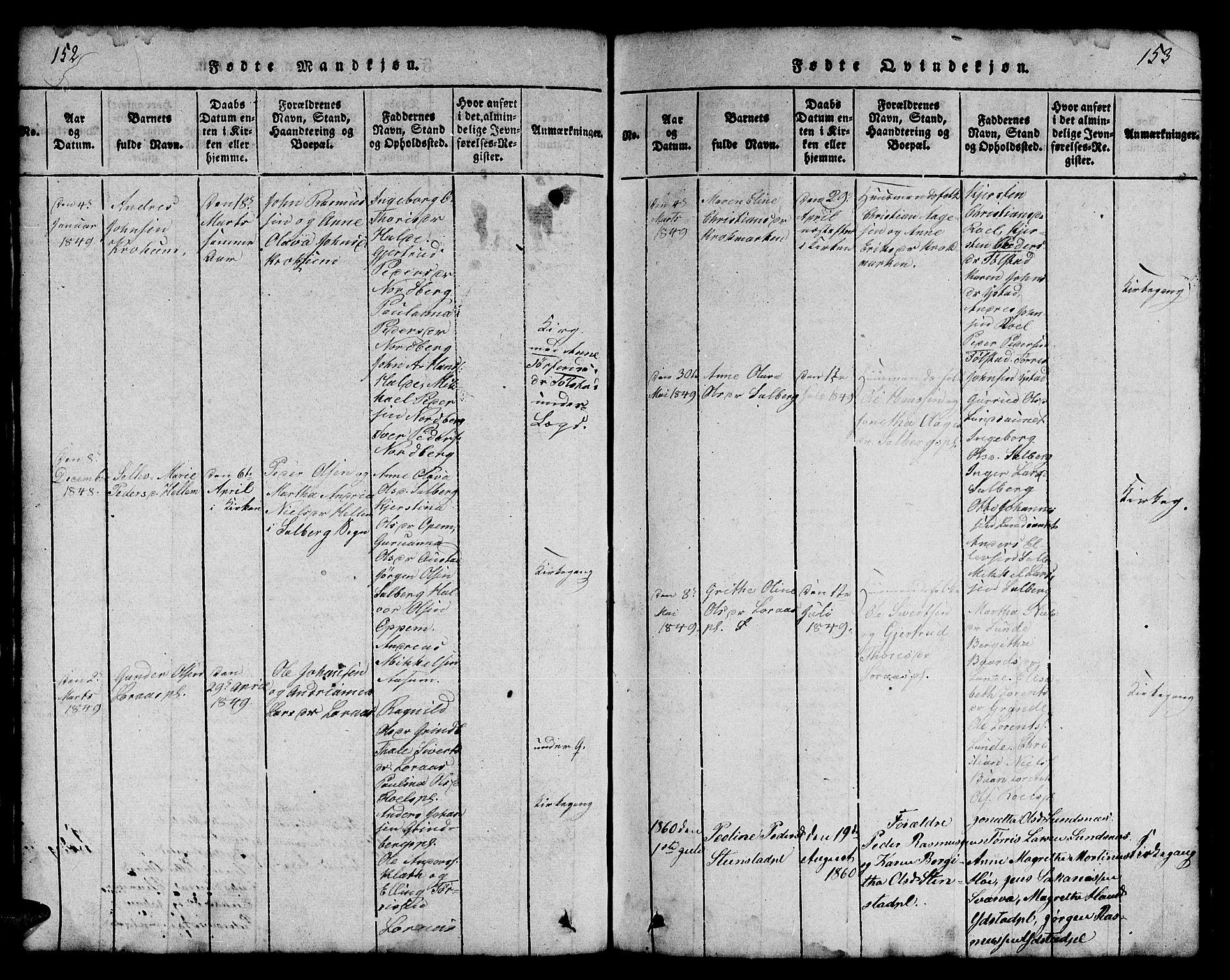SAT, Ministerialprotokoller, klokkerbøker og fødselsregistre - Nord-Trøndelag, 731/L0310: Klokkerbok nr. 731C01, 1816-1874, s. 152-153