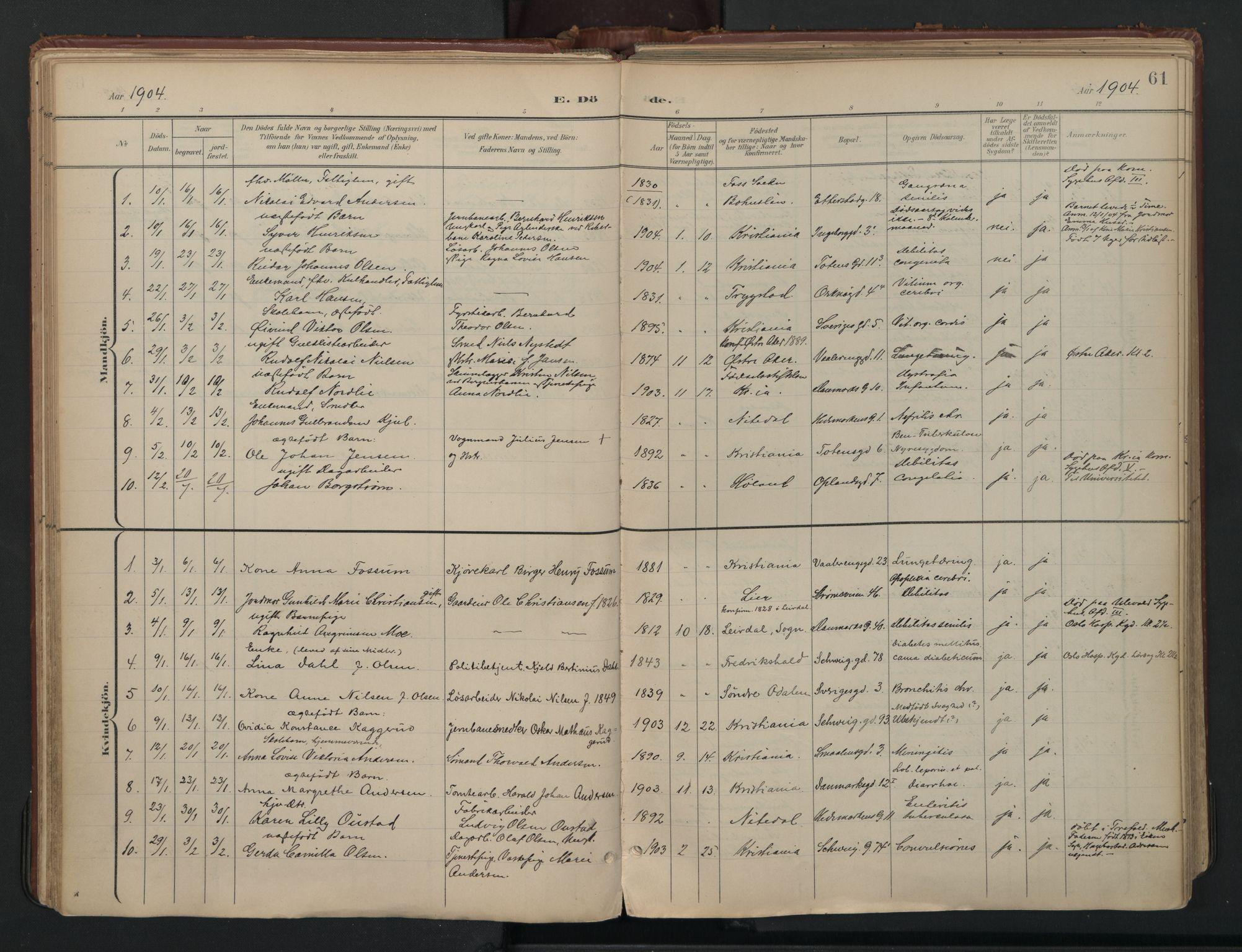 SAO, Vålerengen prestekontor Kirkebøker, F/Fa/L0003: Ministerialbok nr. 3, 1899-1930, s. 61