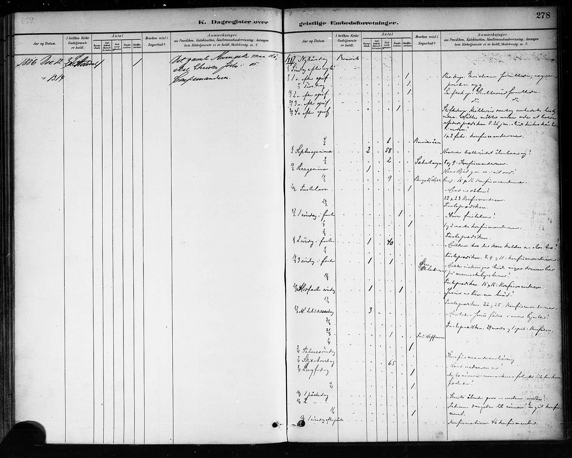 SAKO, Brevik kirkebøker, F/Fa/L0007: Ministerialbok nr. 7, 1882-1900, s. 278