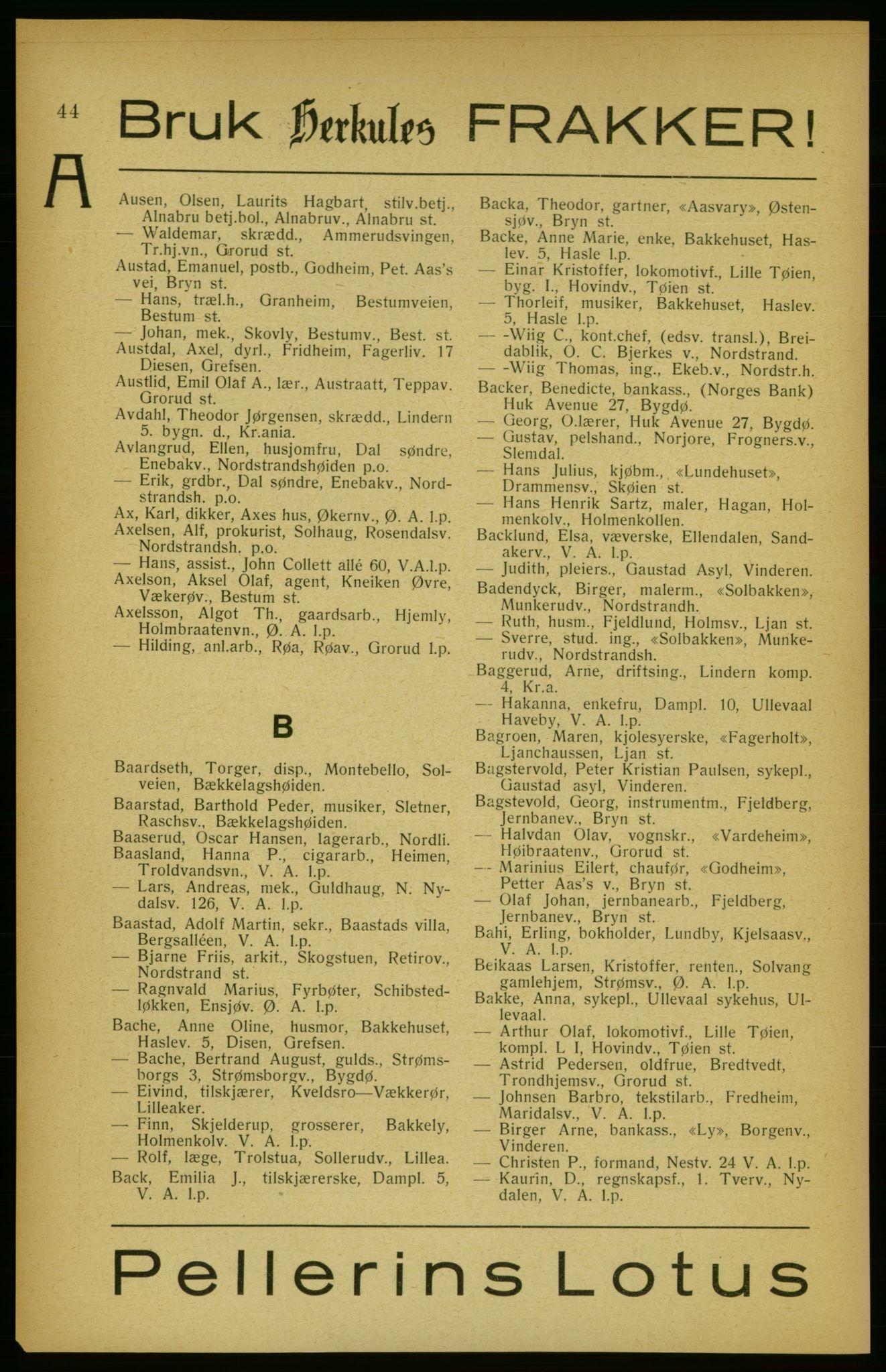 RA, Aker adressebok/adressekalender (publikasjon)*, 1922, s. 44