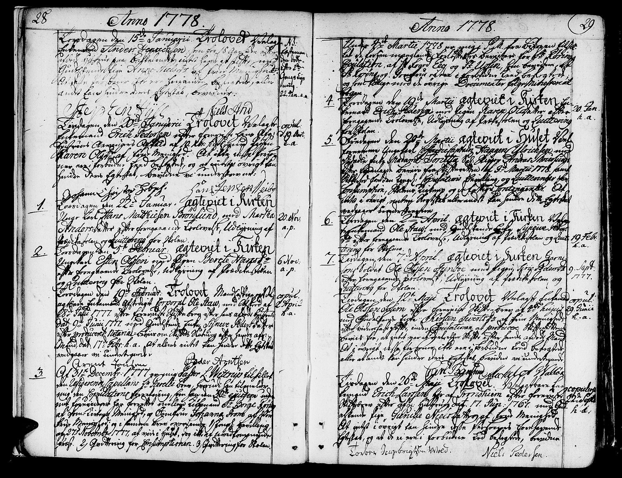 SAT, Ministerialprotokoller, klokkerbøker og fødselsregistre - Sør-Trøndelag, 602/L0105: Ministerialbok nr. 602A03, 1774-1814, s. 28-29