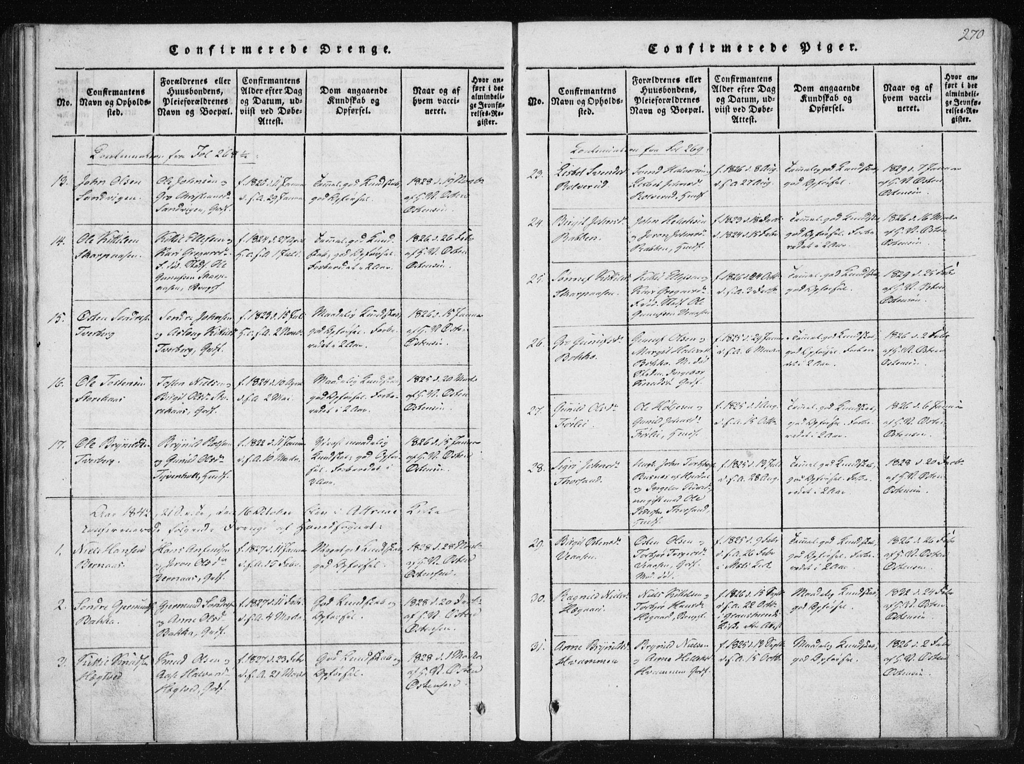 SAKO, Tinn kirkebøker, F/Fb/L0001: Ministerialbok nr. II 1, 1815-1843, s. 270