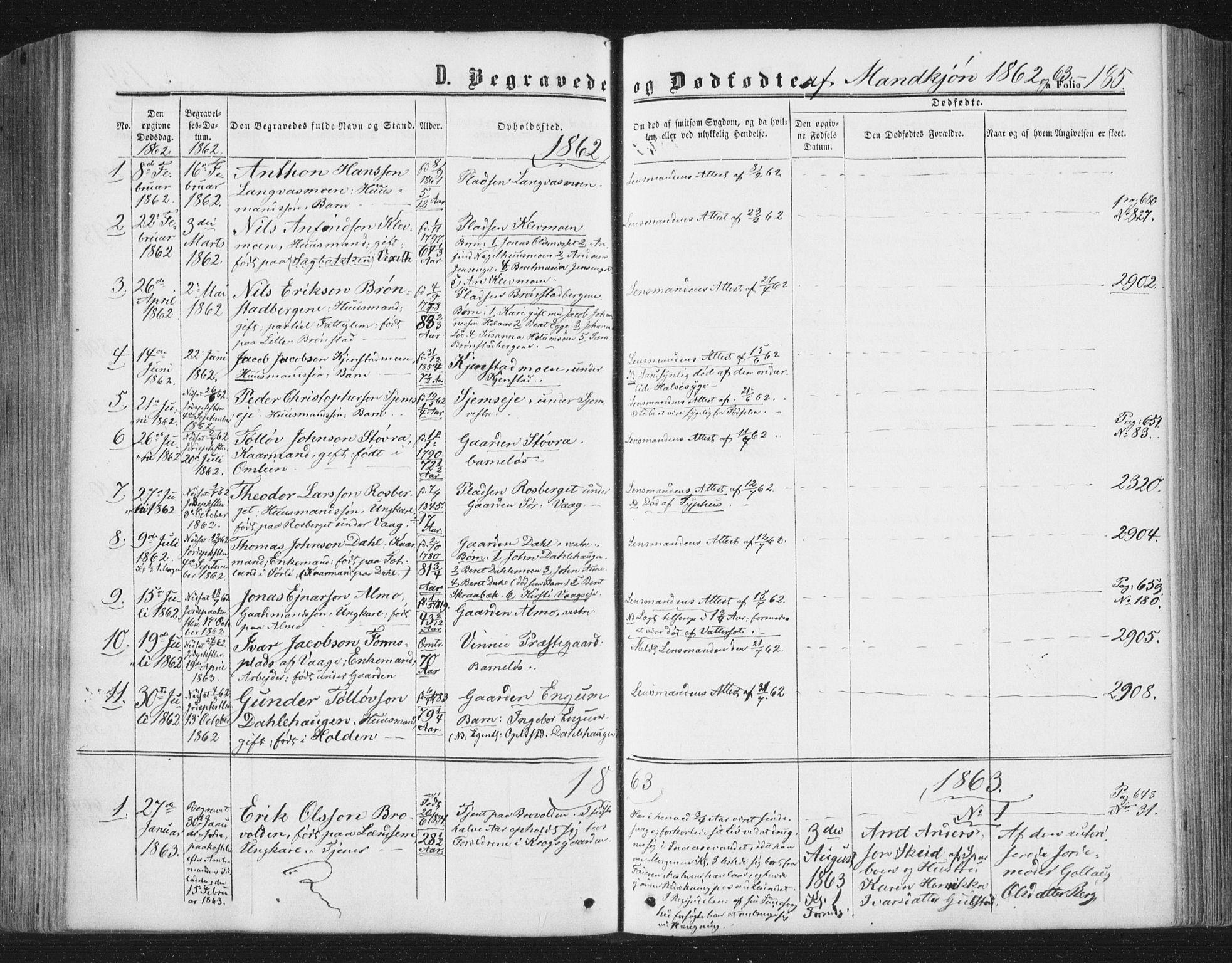 SAT, Ministerialprotokoller, klokkerbøker og fødselsregistre - Nord-Trøndelag, 749/L0472: Ministerialbok nr. 749A06, 1857-1873, s. 185