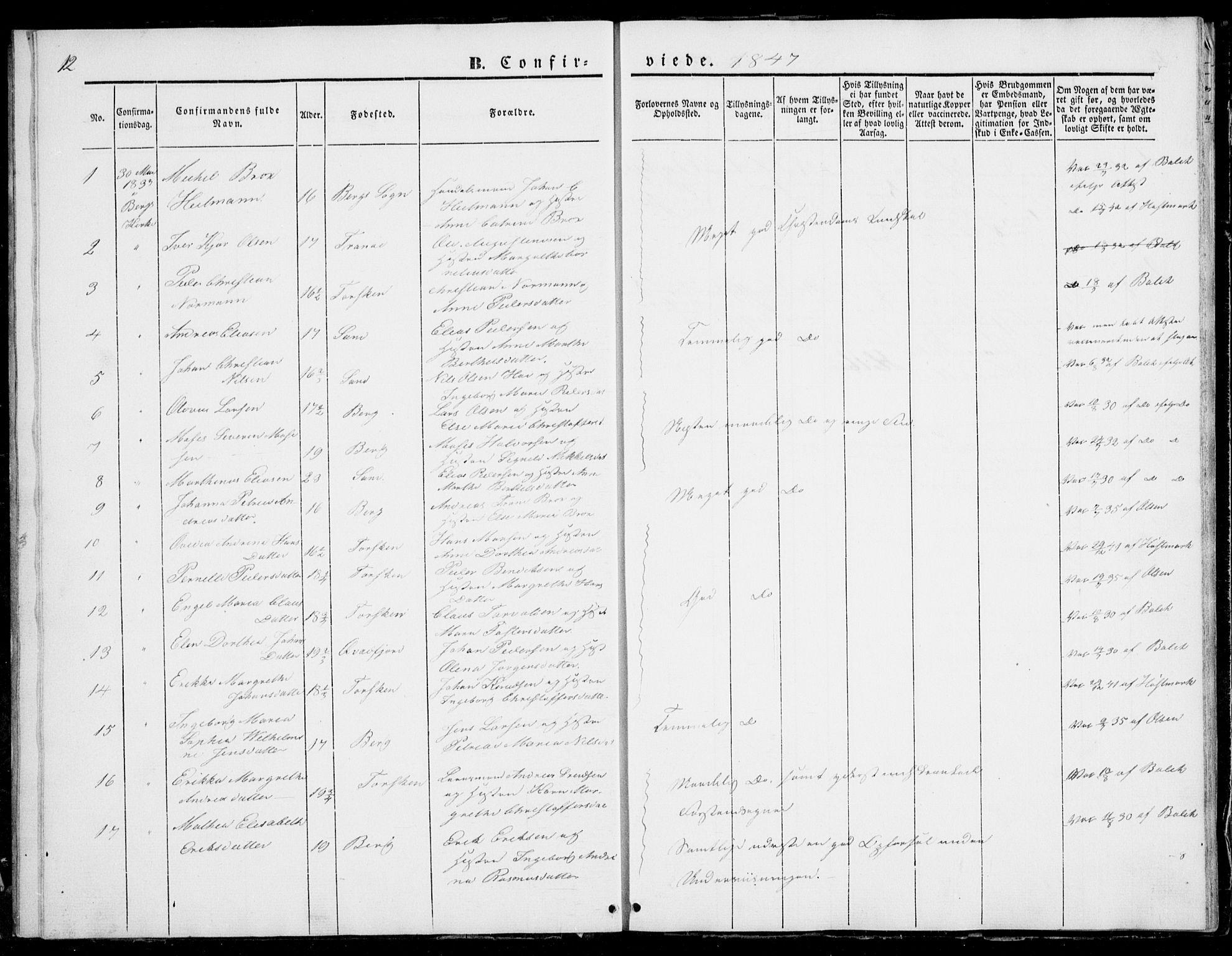 SATØ, Mefjord/Berg sokneprestkontor, G/Ga/Gab/L0001klokker: Klokkerbok nr. 1, 1843-1851, s. 12
