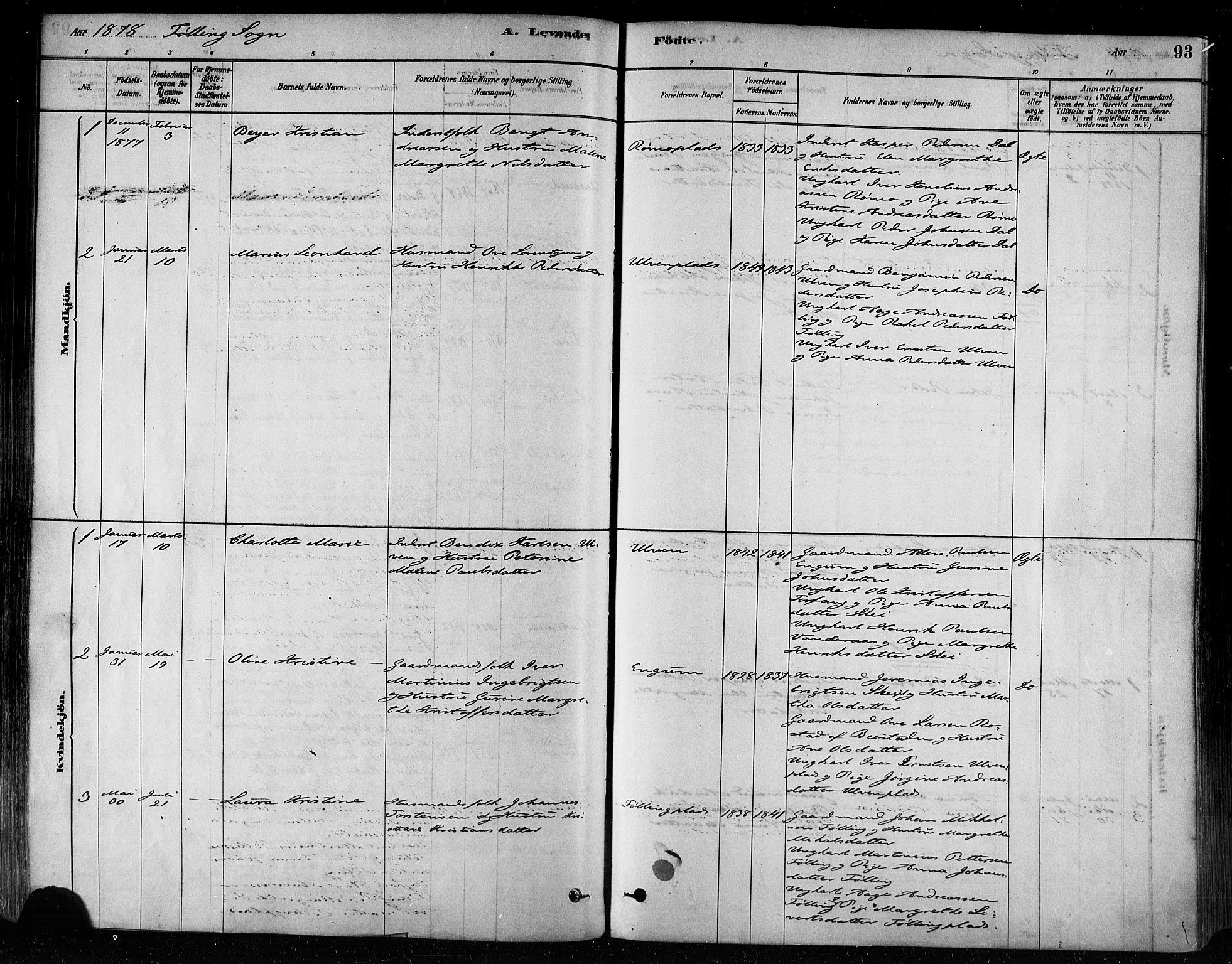 SAT, Ministerialprotokoller, klokkerbøker og fødselsregistre - Nord-Trøndelag, 746/L0449: Ministerialbok nr. 746A07 /3, 1878-1899, s. 93