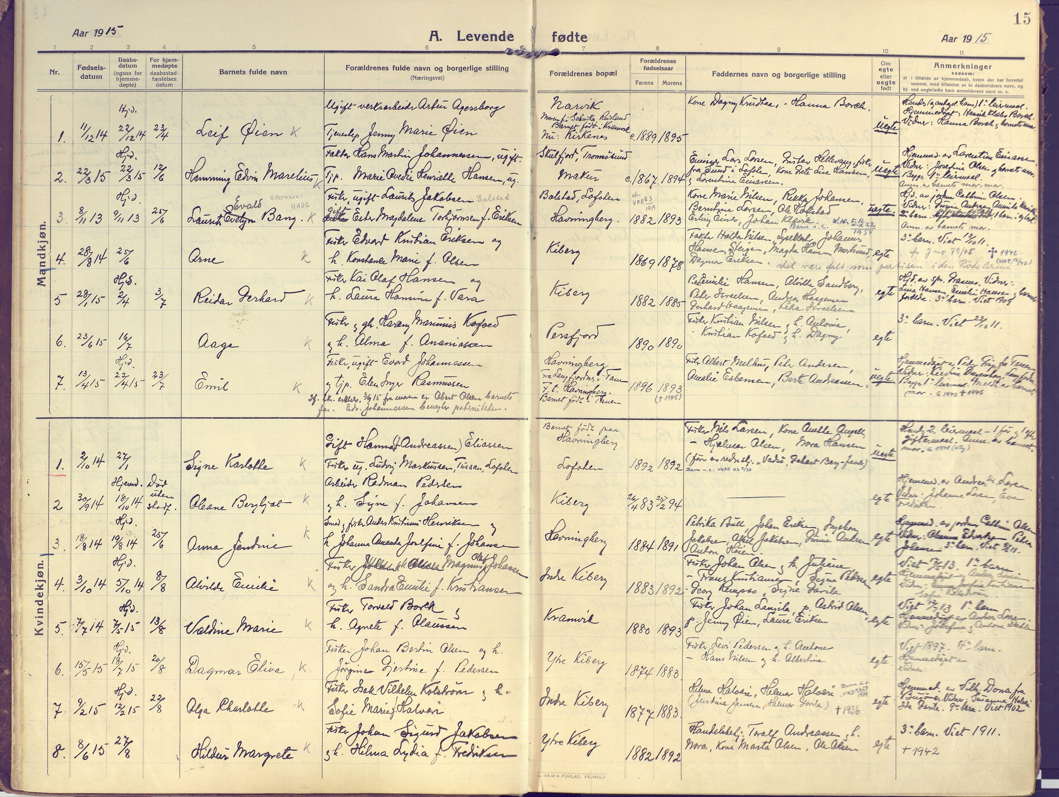SATØ, Vardø sokneprestkontor, H/Ha/L0013kirke: Ministerialbok nr. 13, 1912-1928, s. 15
