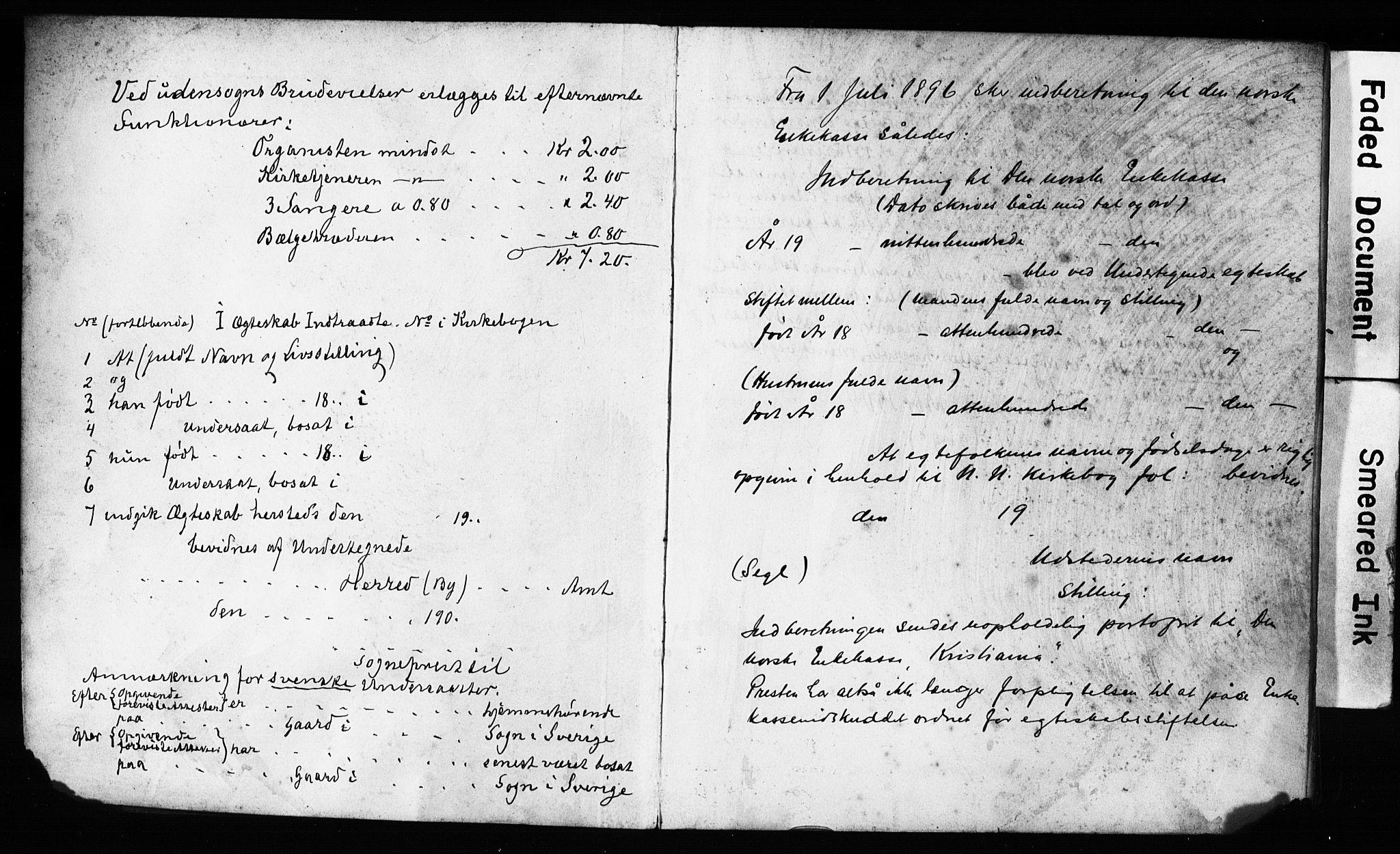 SAB, Domkirken Sokneprestembete, Forlovererklæringer nr. II.5.11, 1899-1910, s. 1