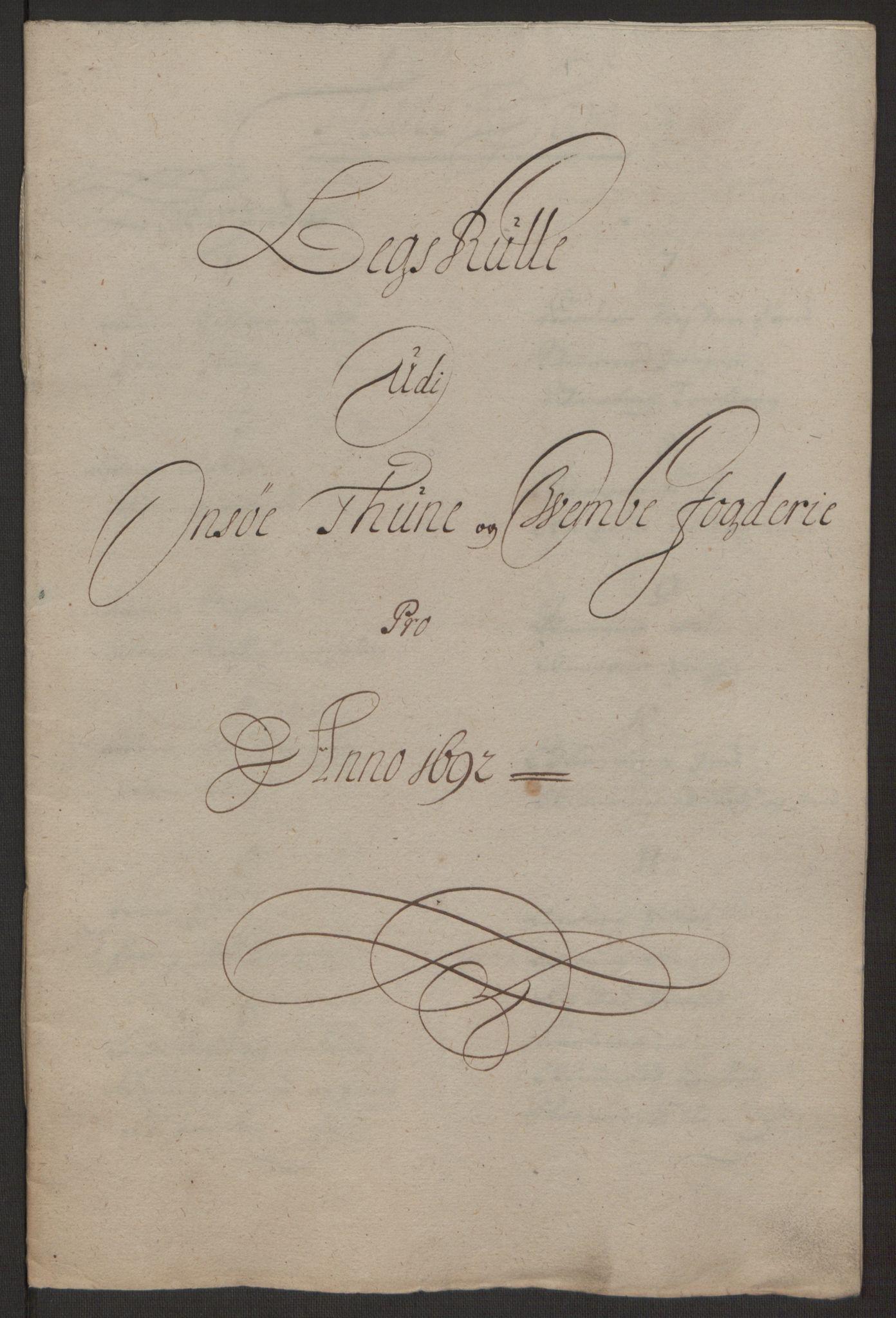 RA, Rentekammeret inntil 1814, Reviderte regnskaper, Fogderegnskap, R03/L0120: Fogderegnskap Onsøy, Tune, Veme og Åbygge fogderi, 1692-1693, s. 138